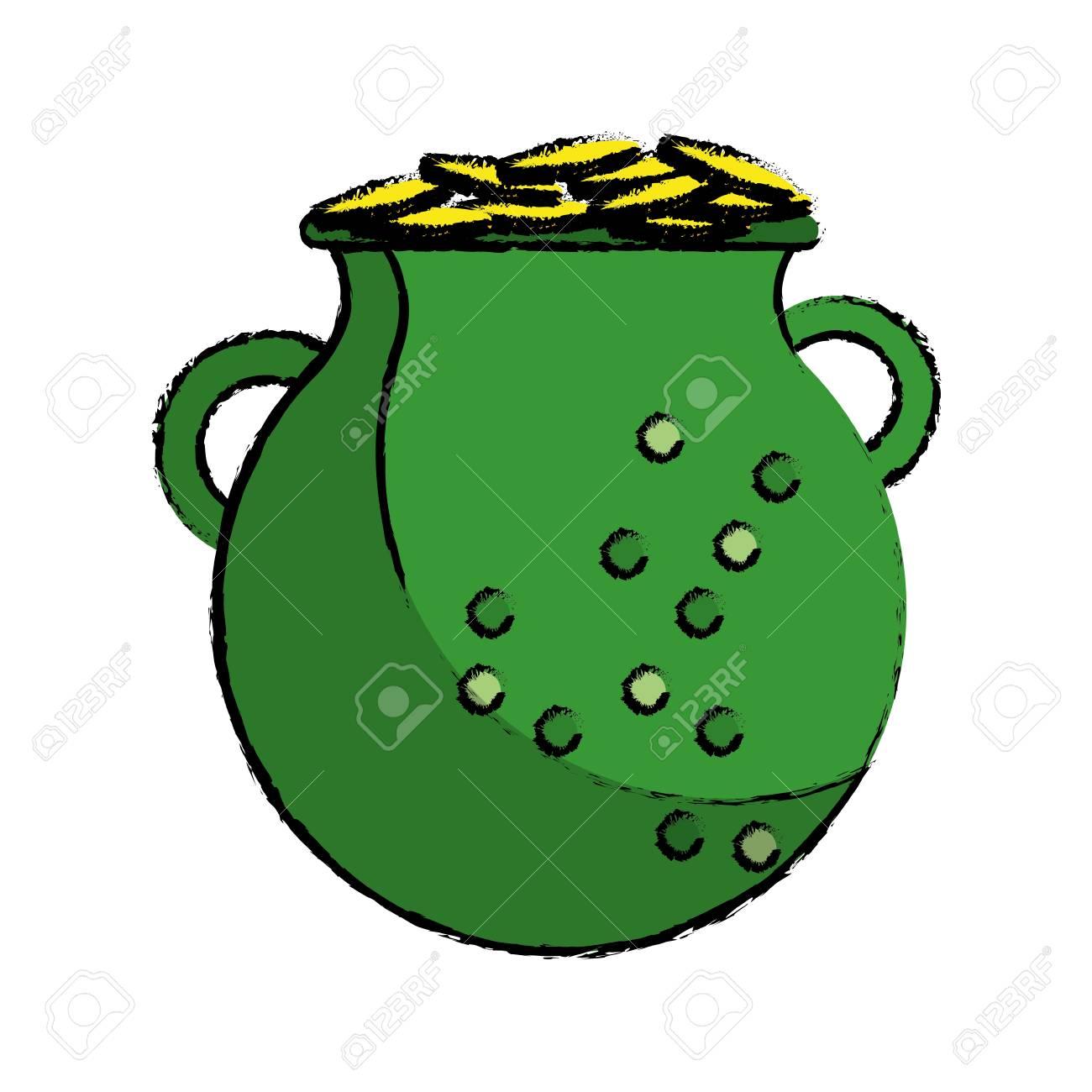 Dibujos Animados St Patrick Día Crisol Verde Monedas De Oro ...