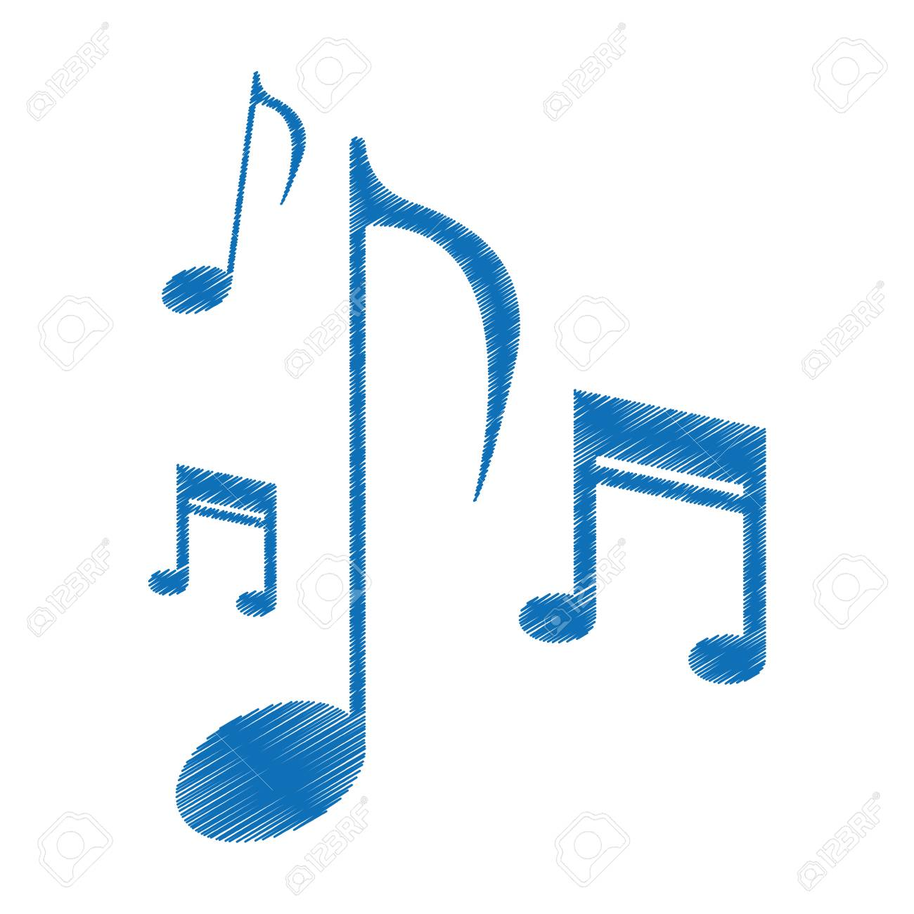 Drawing Music Note Sound Melody Symbol Vector Illustration