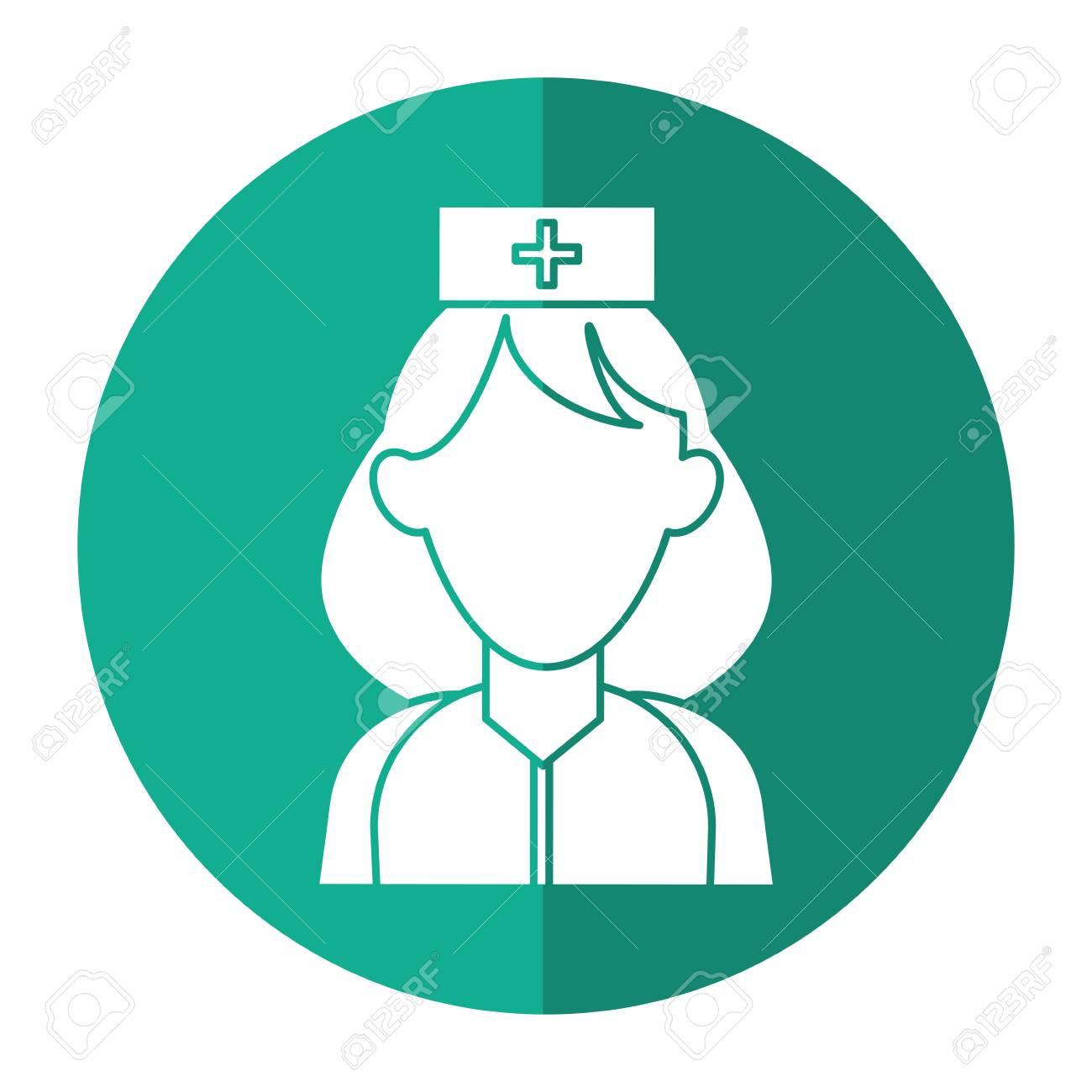 Urgencia de ayuda de paramédico de mujer con uniforme con ilustración de  vector de sombra