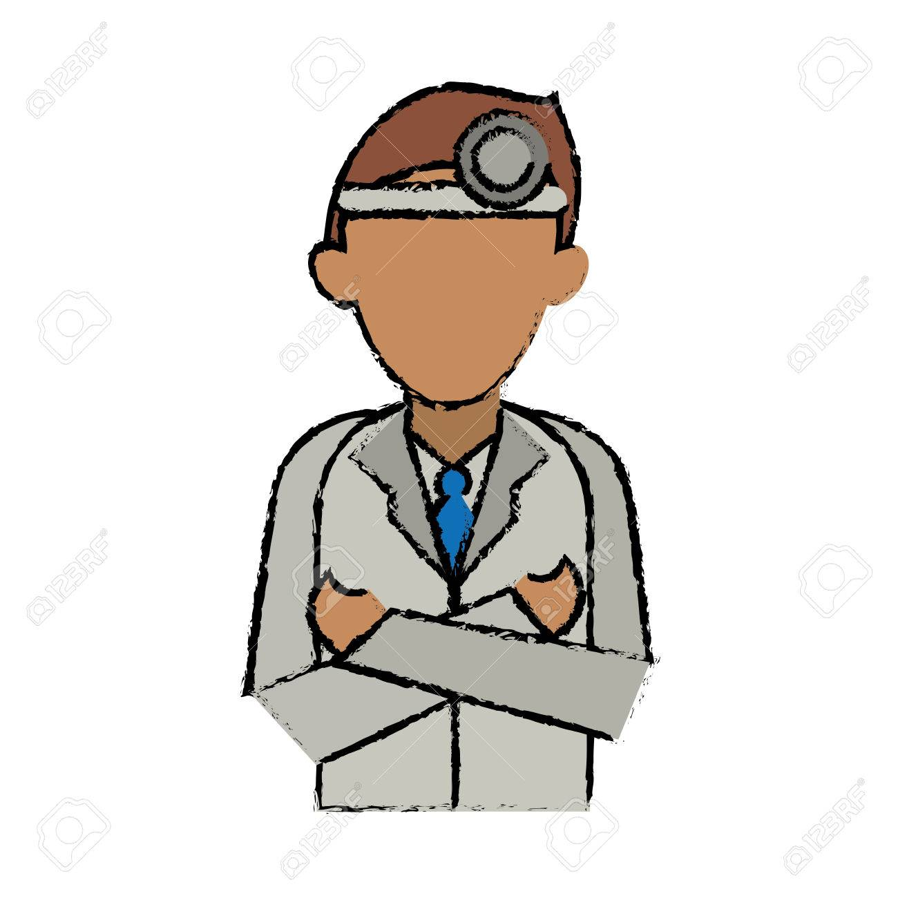 cartoon doctor crossed arms wearing head mirror medical consultation