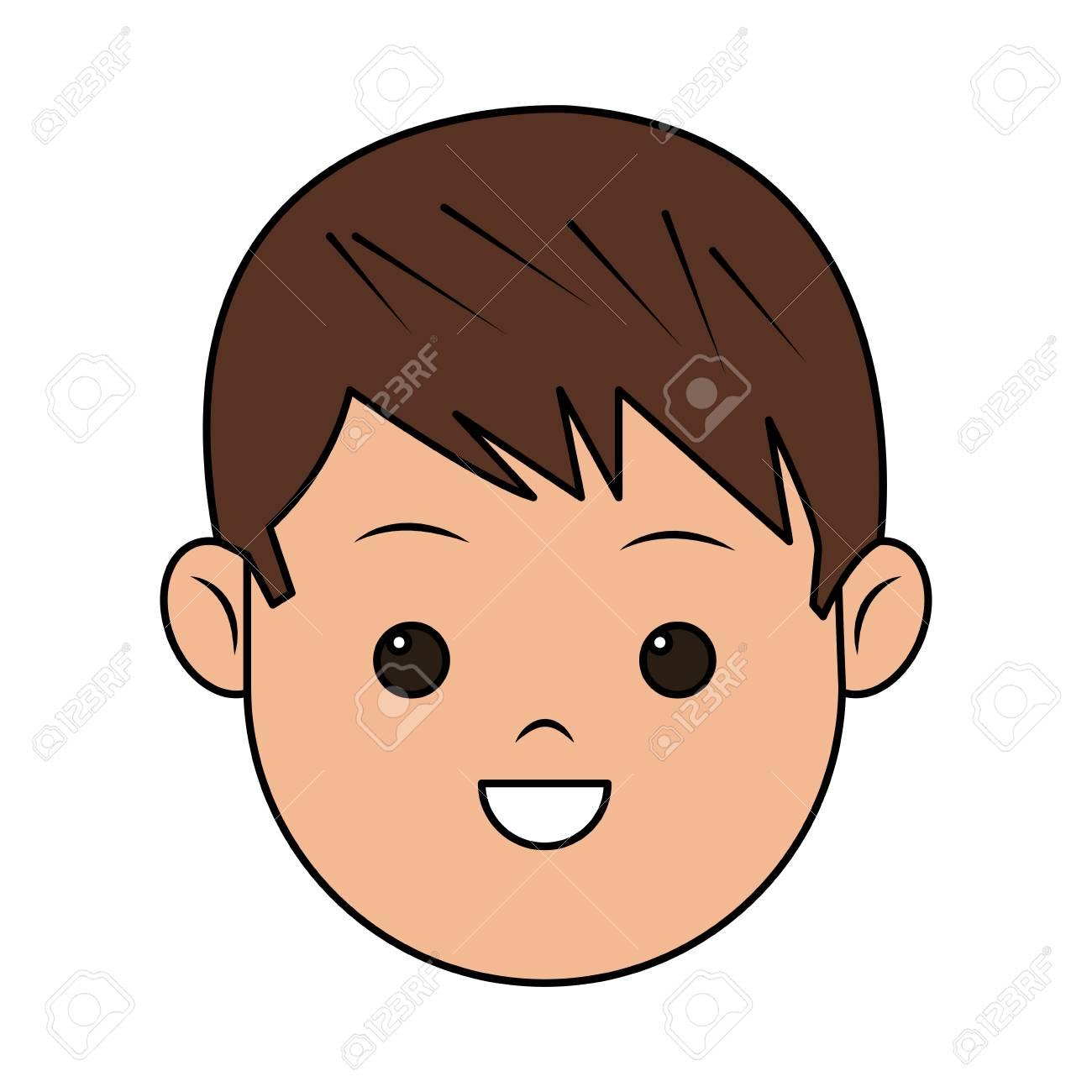 Niño Feliz Icono De Dibujos Animados De Cara Sobre Fondo Blanco