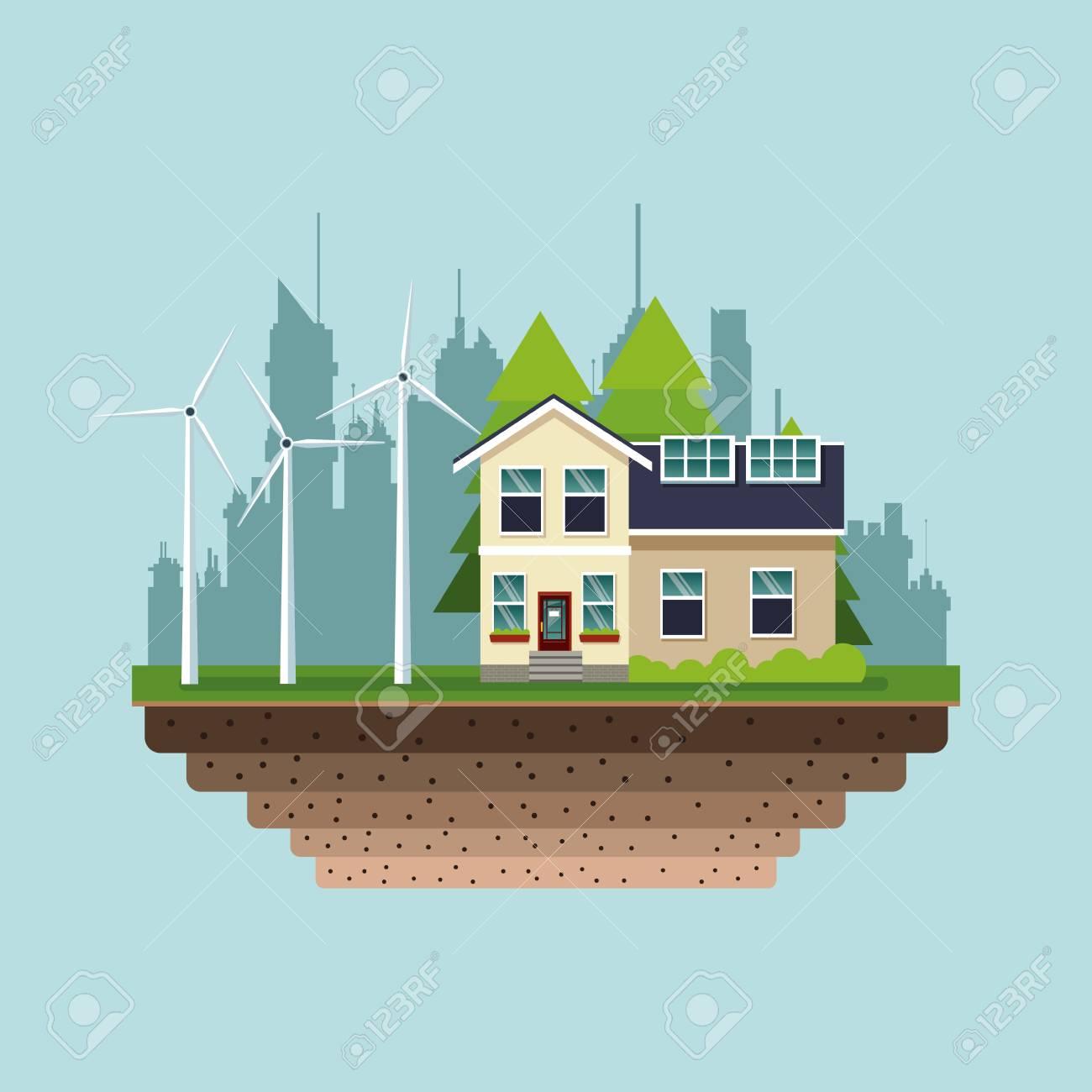 Maison moderne énergie verte vent turbine ville fond illustration  vectorielle