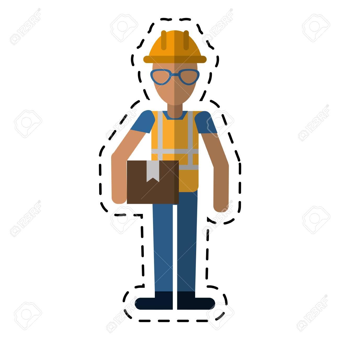 Construction Man Glasses Cardboard Box-dot Line Vector Illustration ...