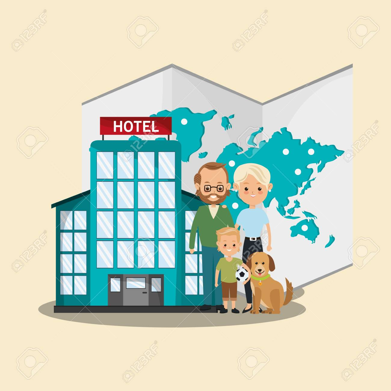 Hotel building icom happy family and world map travel and tourism hotel building icom happy family and world map travel and tourism concept colorful design gumiabroncs Choice Image