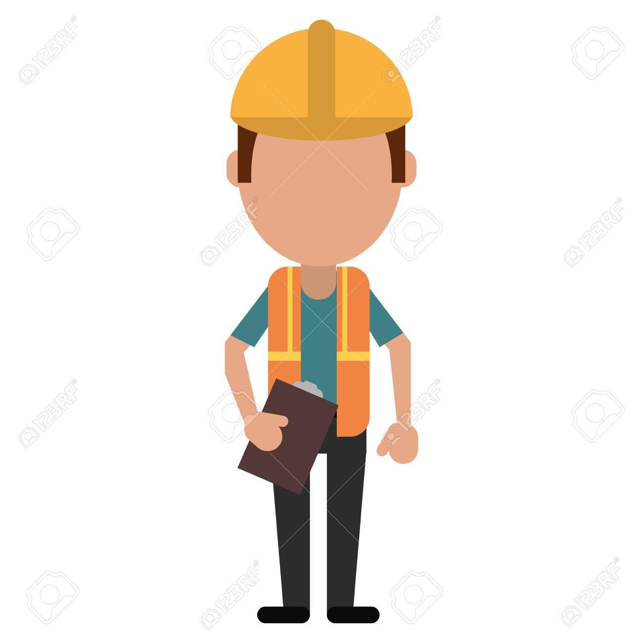 Foreman Construction Helmet Vest And Clipboard Vector Illustration Stock