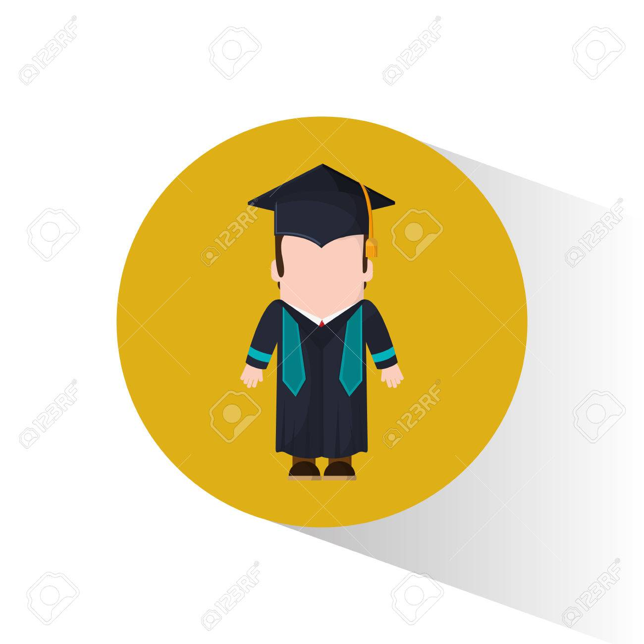 Graduate Student Cap And Gown Vector Illustration Royalty Free ...