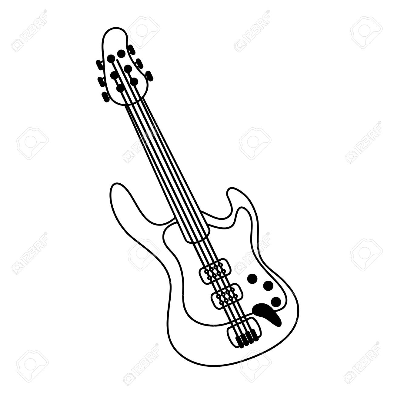 electric guitar icon image vector illustration design royalty free Red Bass Strings electric guitar icon image vector illustration design stock vector 72345696