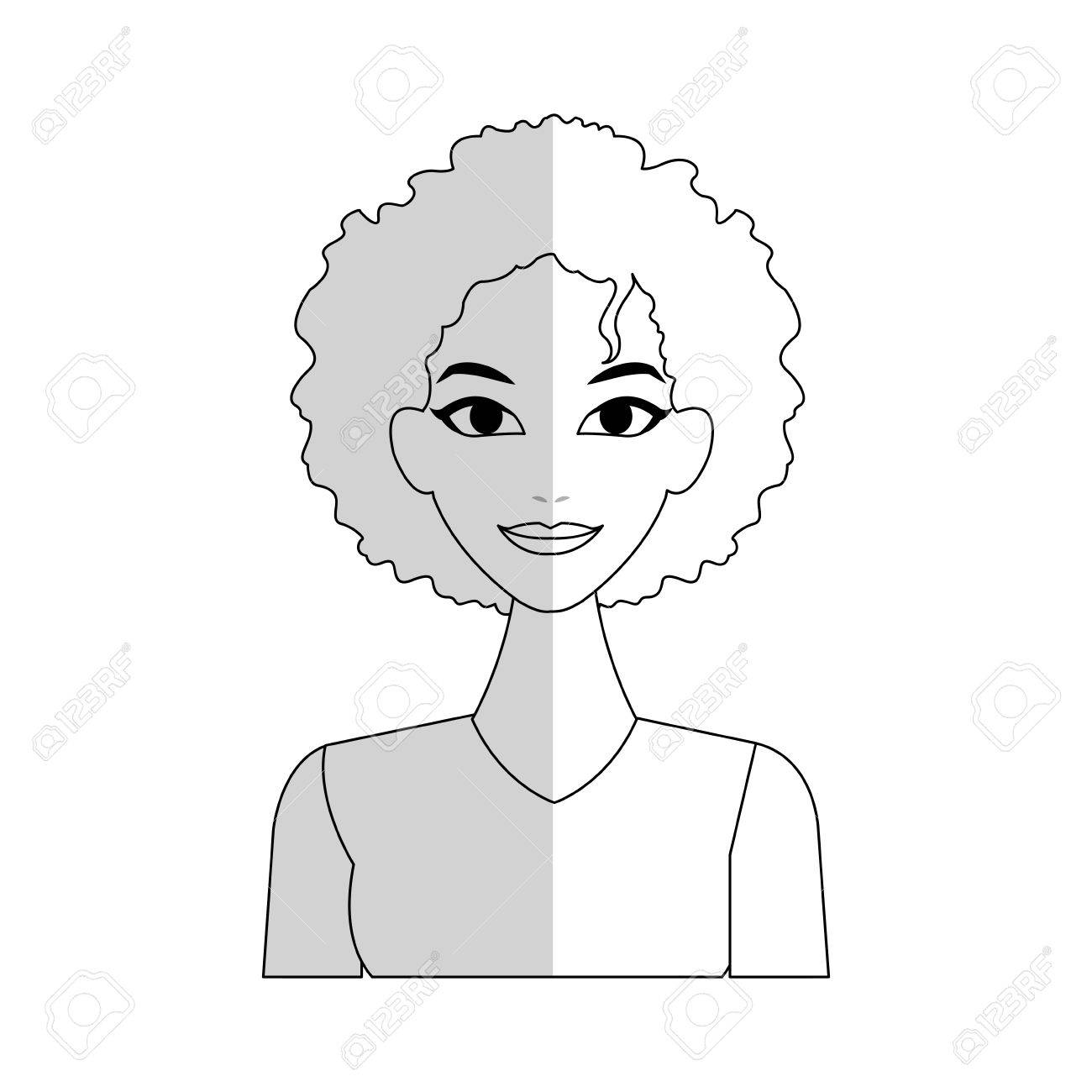 Pretty Young Woman With Curly Hair Icon Image Vector Illustration