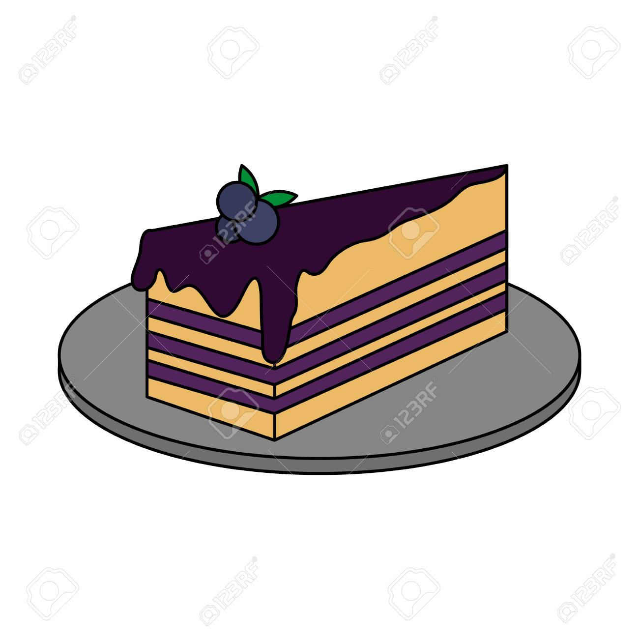 Blueberry Cake Pastry Icon Image Pastry Icon Image Vector
