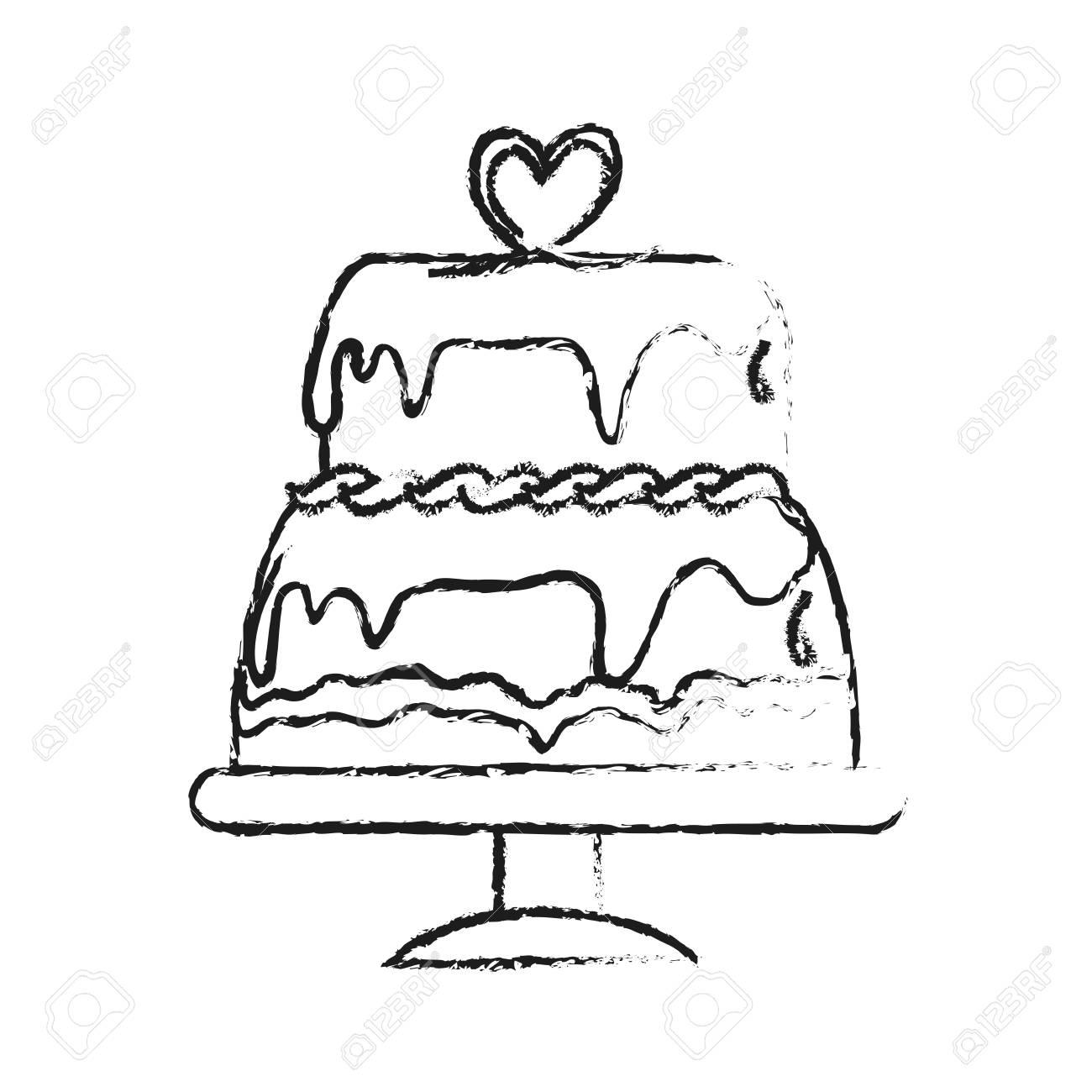 Banque d\u0027images , Gâteau avec glaçage icône pâtisserie illustration dessin  vectoriel