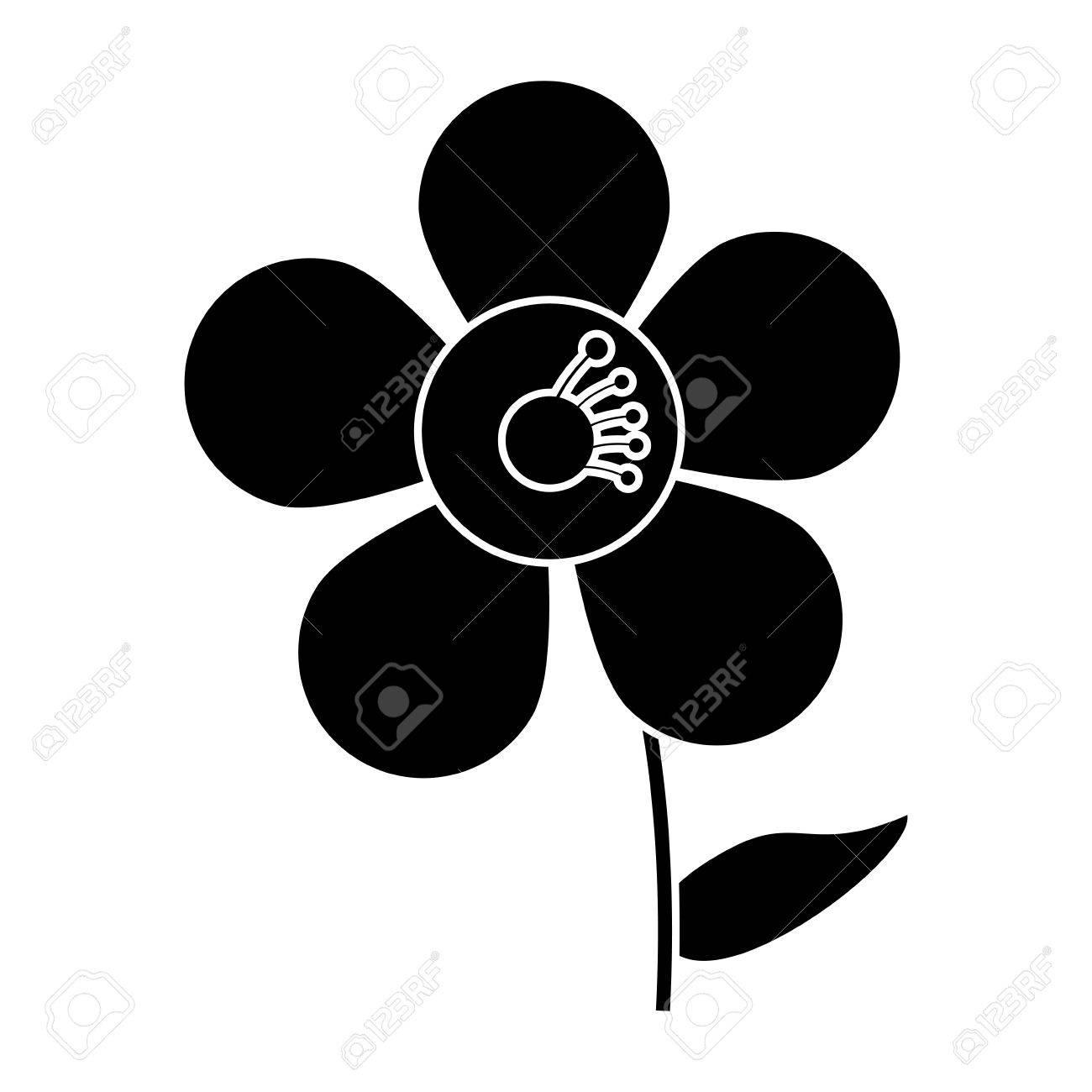 Jasmine Flower Decoration Silhouette Vector Illustration Eps