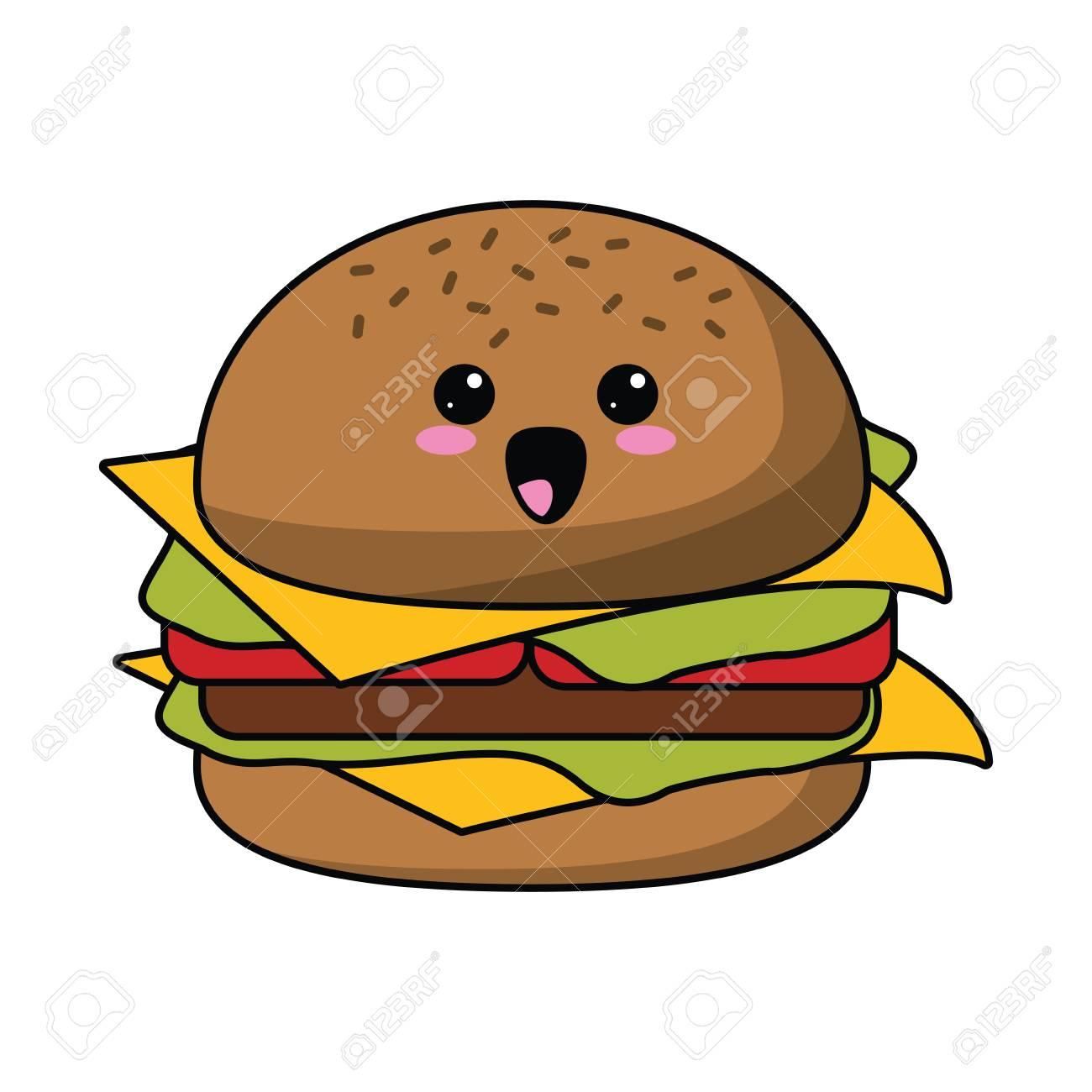 かわいいハンバーガー ファーストフードのアイコン ベクトル イラスト