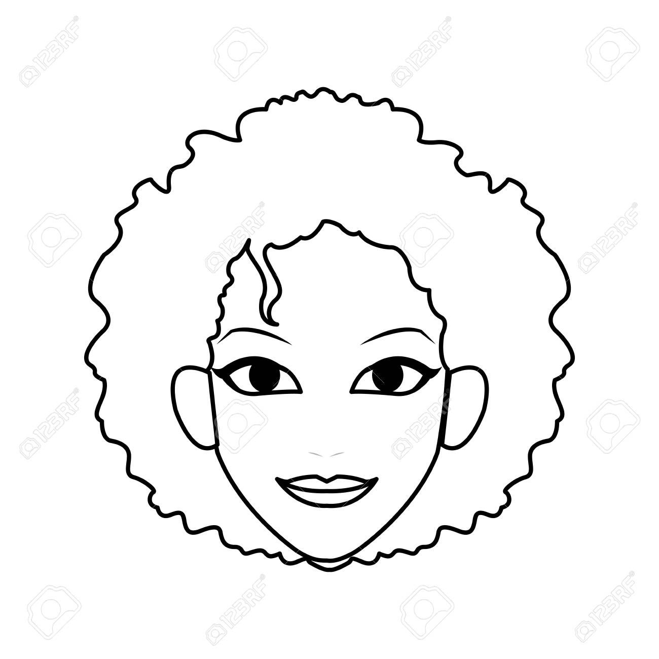 Face Of Young Pretty Woman With Curly Hair Icon Image Vector