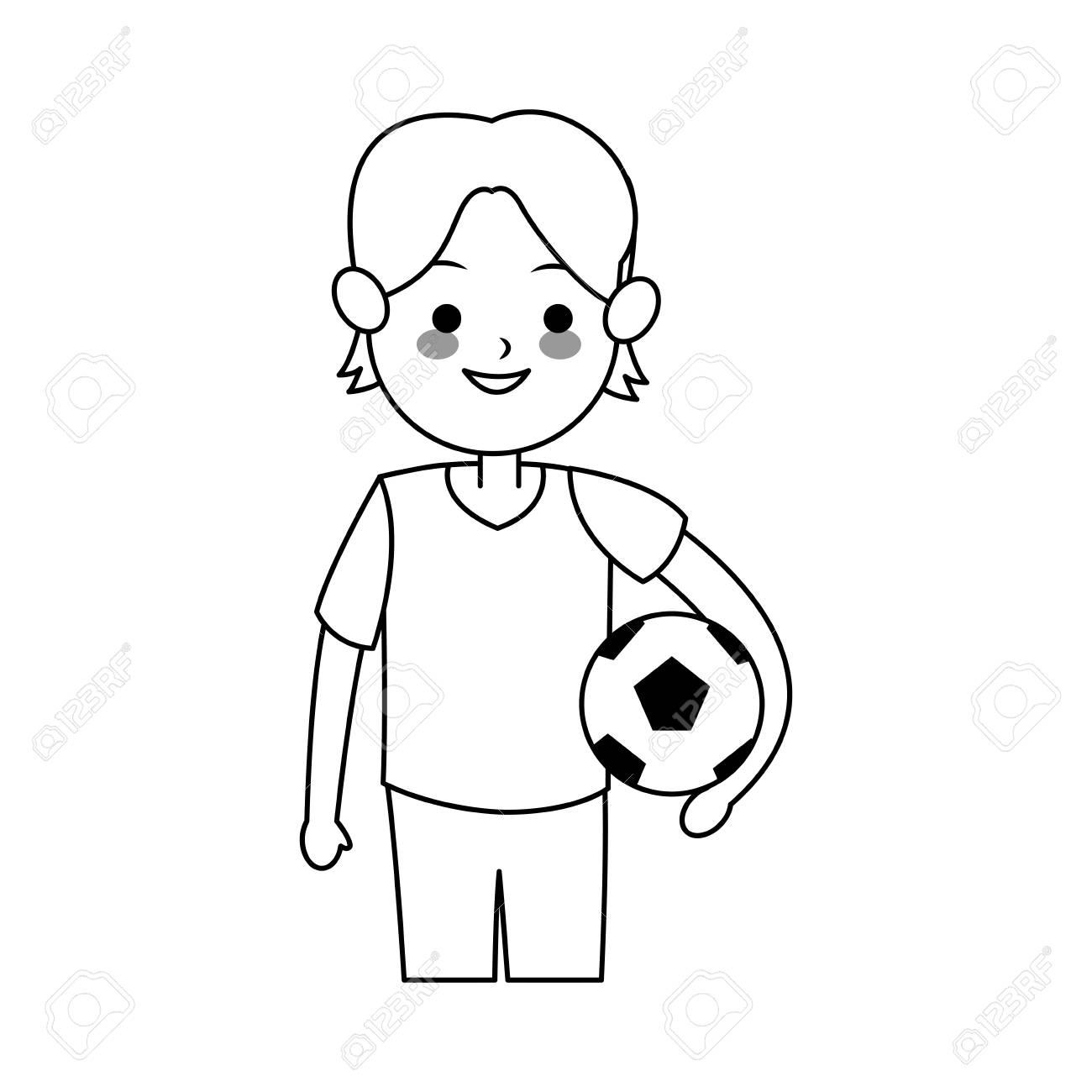少年サッカー ボールかわいい漫画アイコン画像ベクトル イラスト