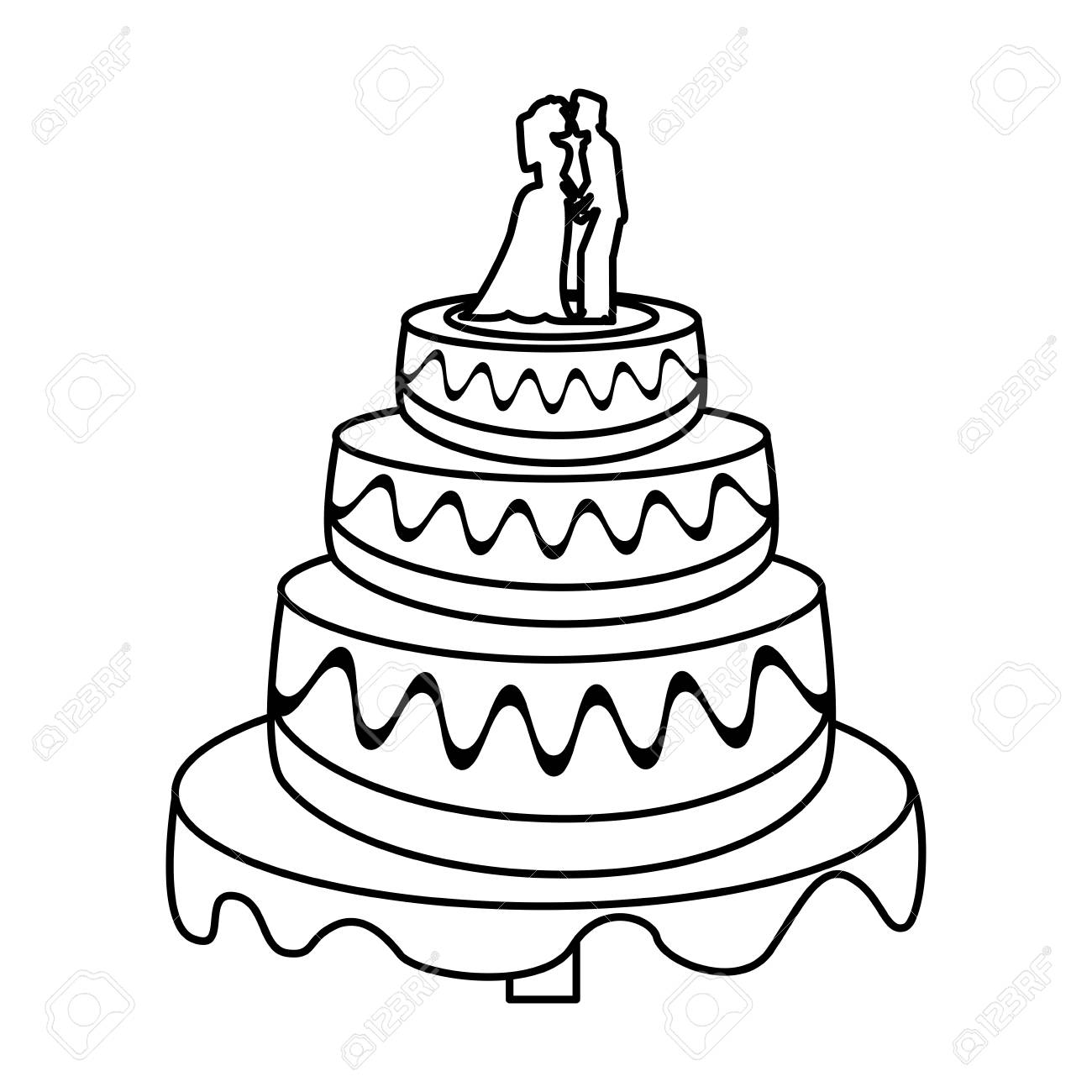 Wedding Cake Couple Sweet Outline Vector Illustration Eps 10 Royalty