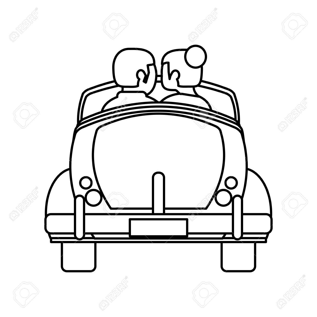 Couple Car Honeymoon Travel Outline Vector Illustration Eps 10 Stock