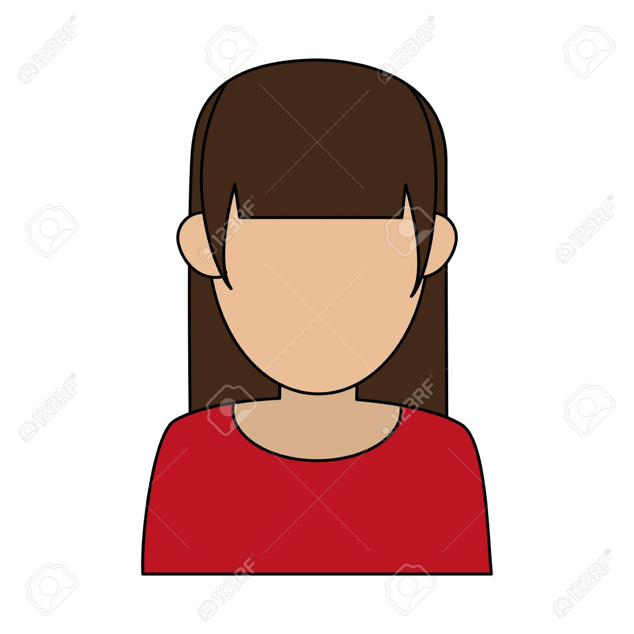 Faceless Woman With Hair Fringe Icon Image Vector Illustration