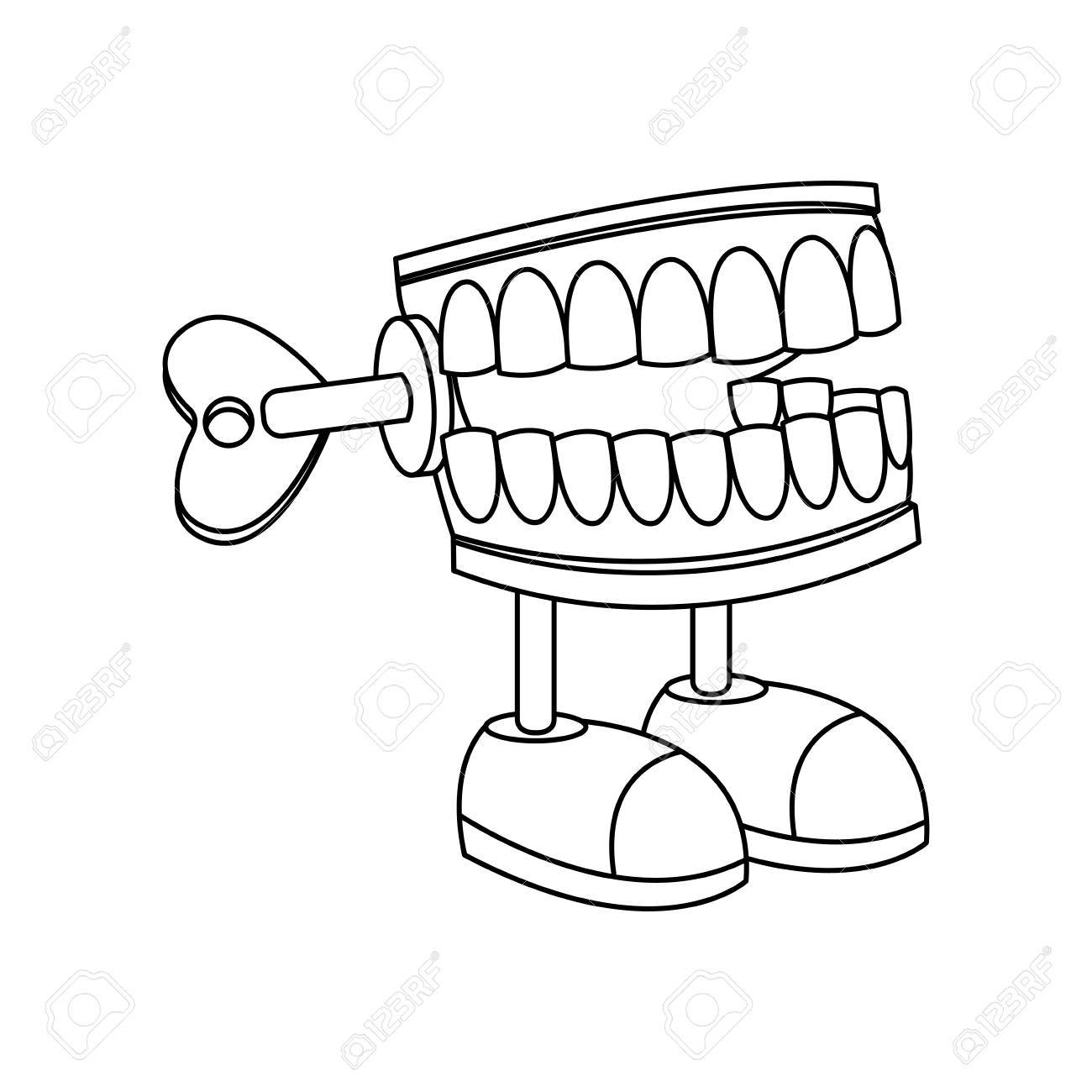 Chattering Teeth on White Background Stock Photo - Alamy
