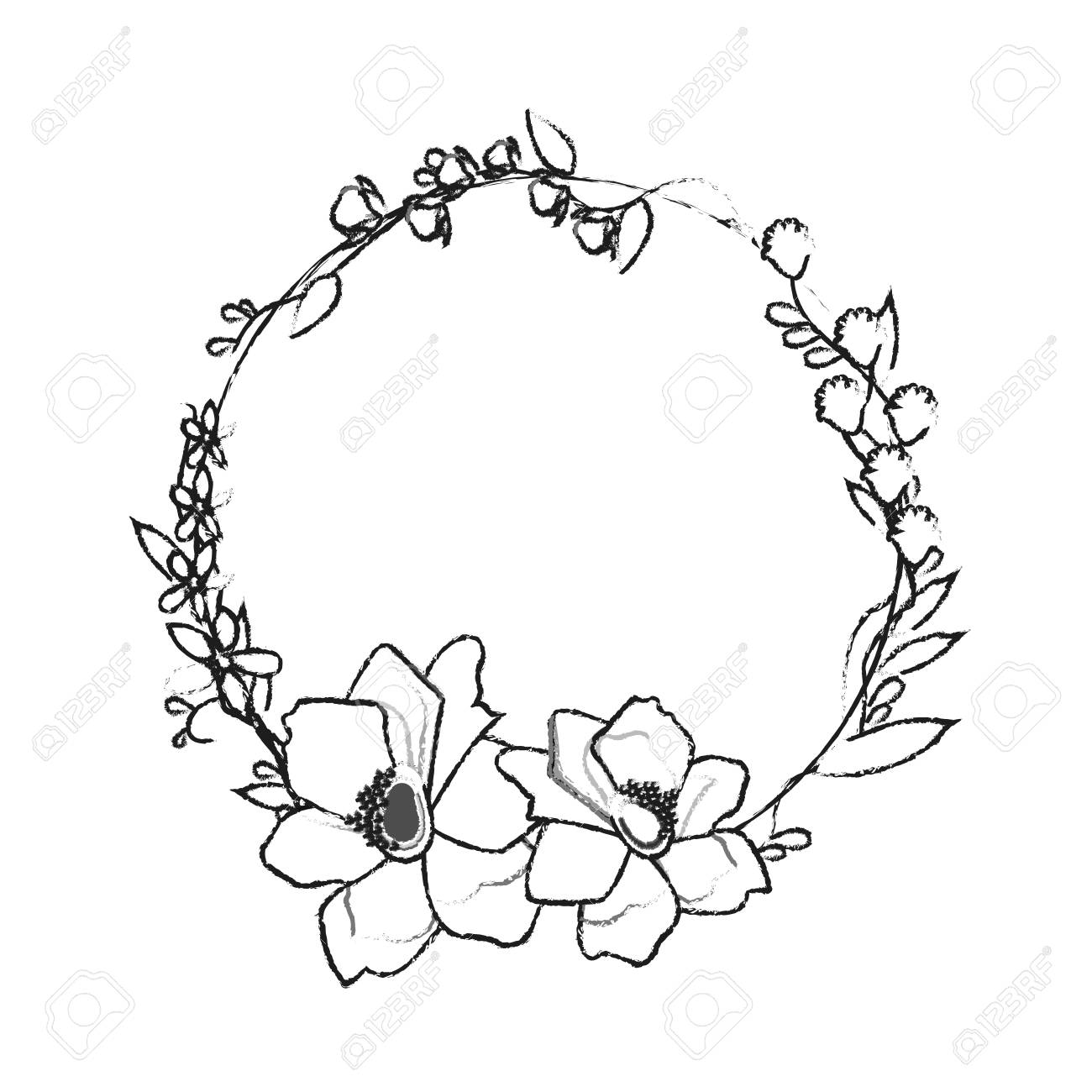 Assorted Delicate Flower Crown Icon Image Vector Illustration