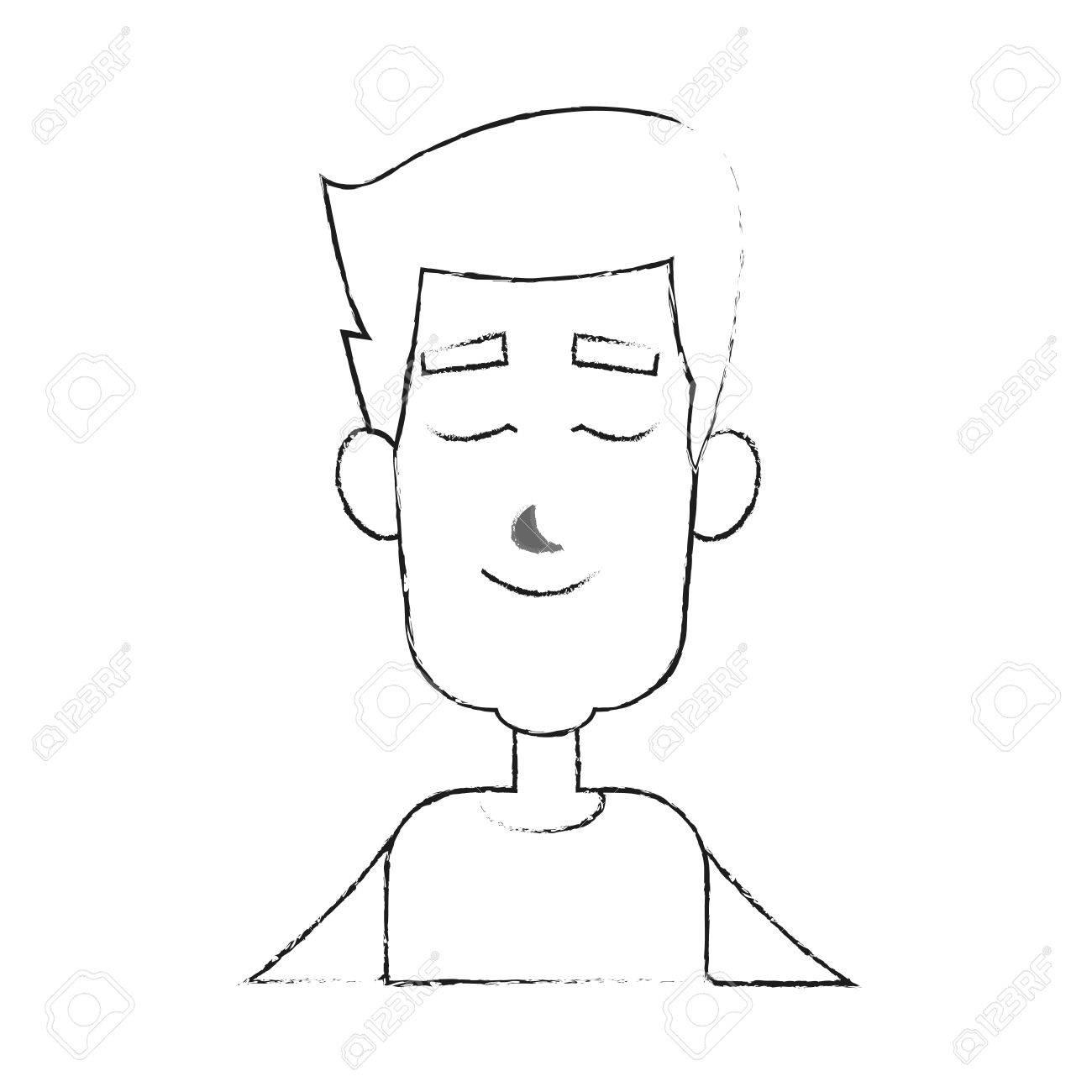 Hombre Joven Con Los Ojos Cerrados Icono De Dibujos Animados
