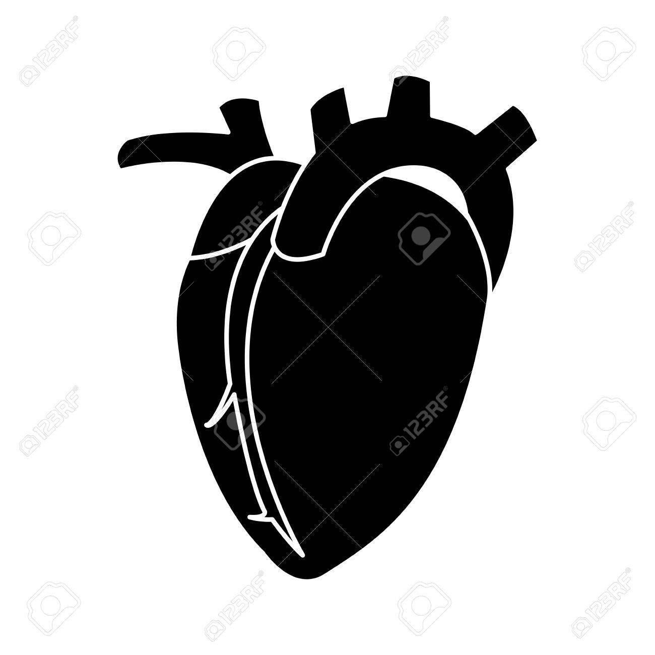 Menschliches Herz-Symbol Bild Vektor-Illustration Design Schwarz Und ...