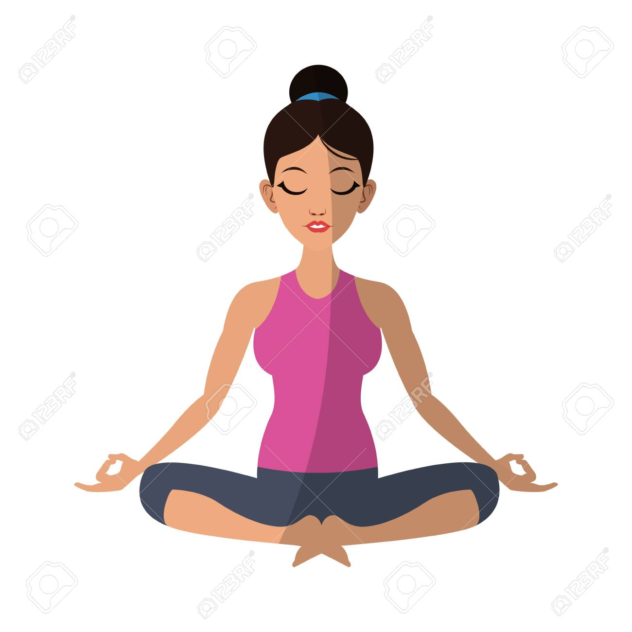 Girl Doing Yoga With Kapalabhati Pranayama Pose Cartoon Icon Over White Background Colorful Design