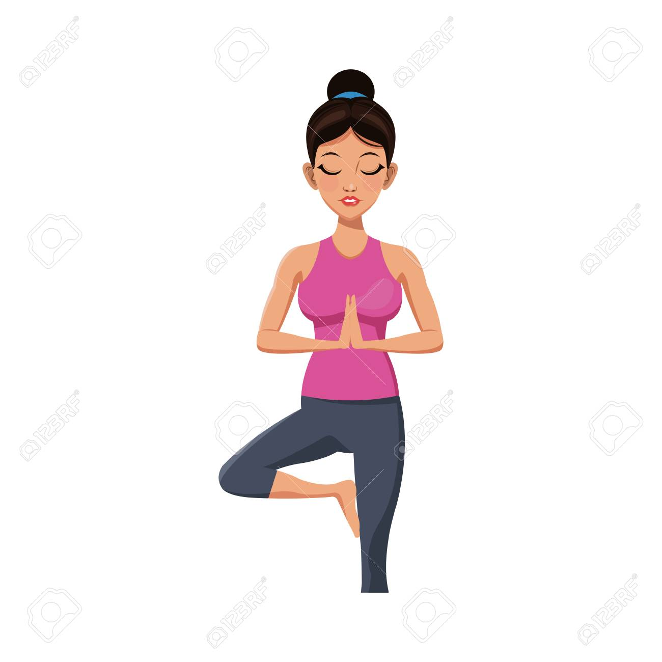 Girl Doing Yoga With Tree Pose Cartoon Icon Over White Background Royalty Free Cliparts Vectors And Stock Illustration Image 75578879 Find images of cartoon tree. girl doing yoga with tree pose cartoon icon over white background
