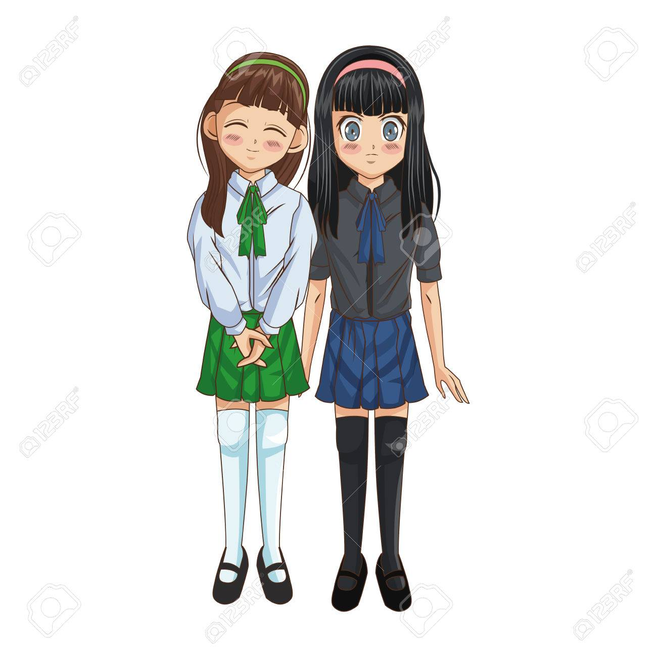 anime girls wearing school uniform, icon over white background