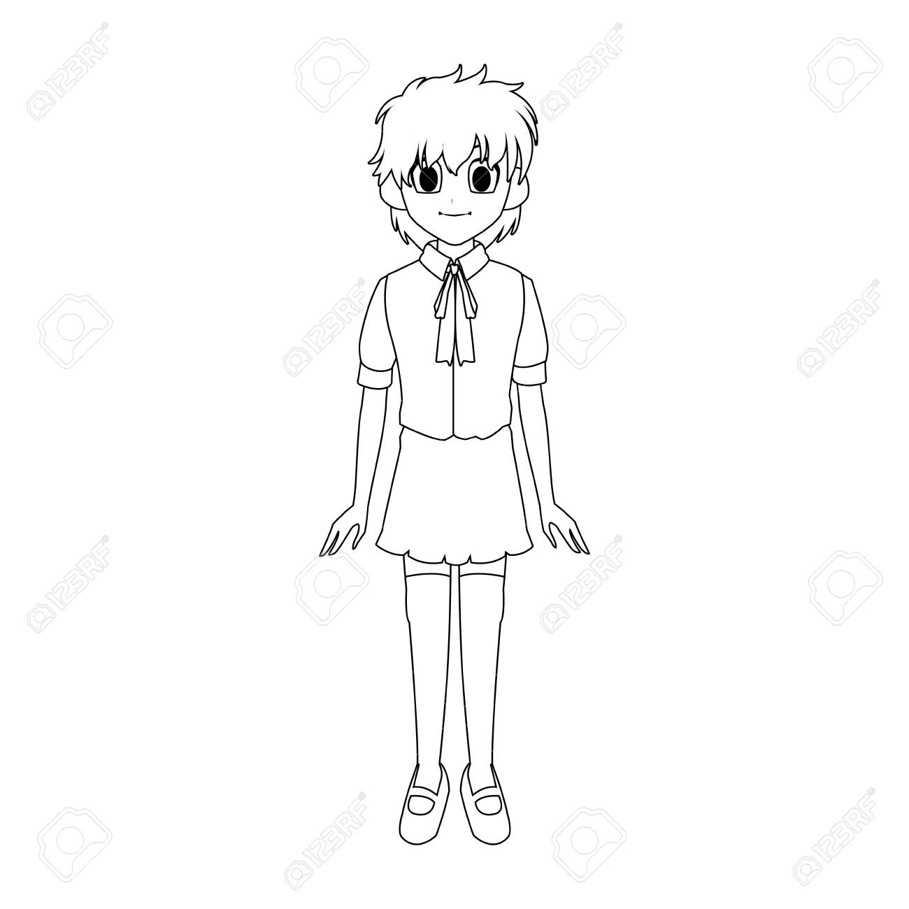 Anime Girl Wearing School Uniforms Icon Over White Background