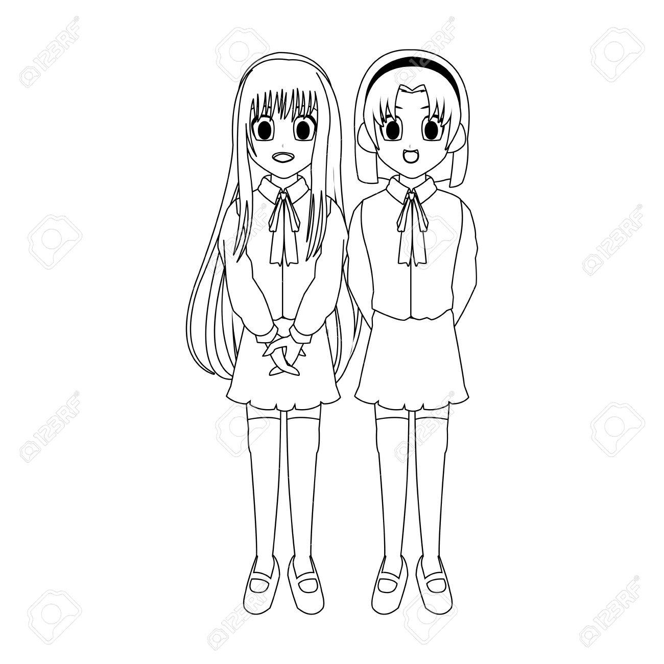 Anime Girls Wearing School Uniforms Icon Over White Background