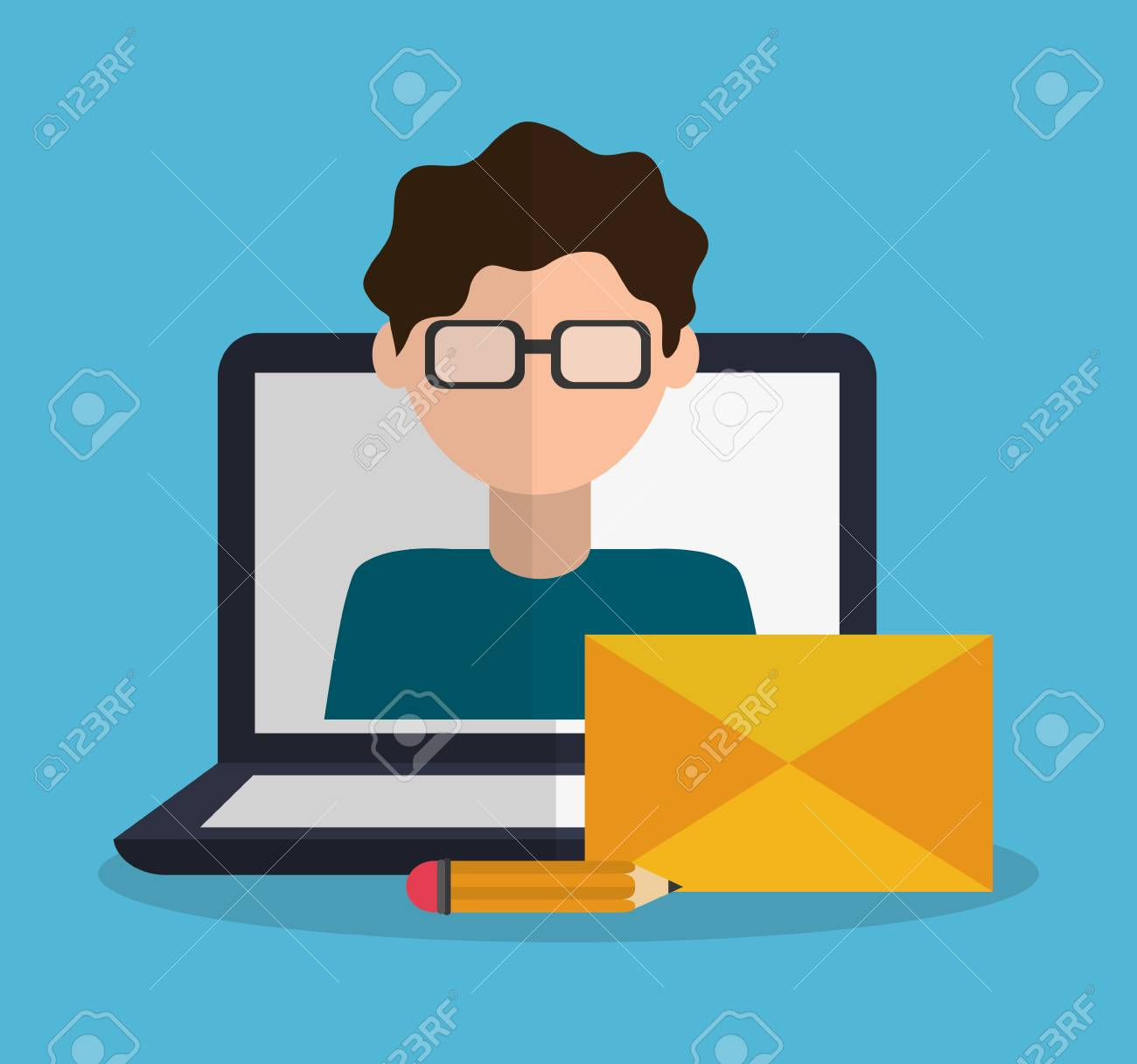 computer with instant messaging related icons image vector illustration