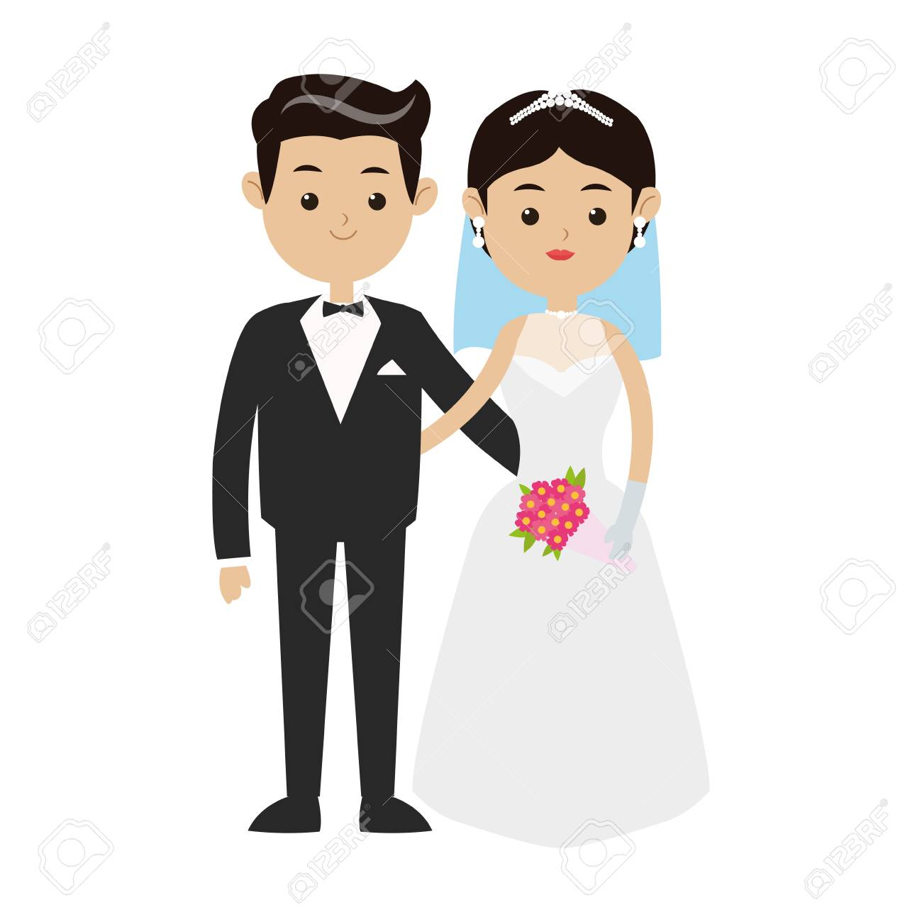 Wedding Couple Cartoon Icon Over White Background Colorful Design Royalty Free Cliparts Vectors And Stock Illustration Image 76008519