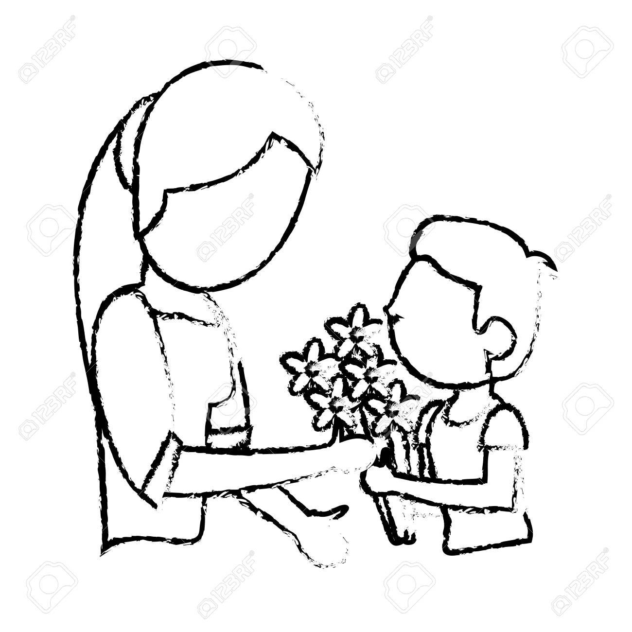 Sketch mother and son bouquet flowers vector illustration stock vector 76085900