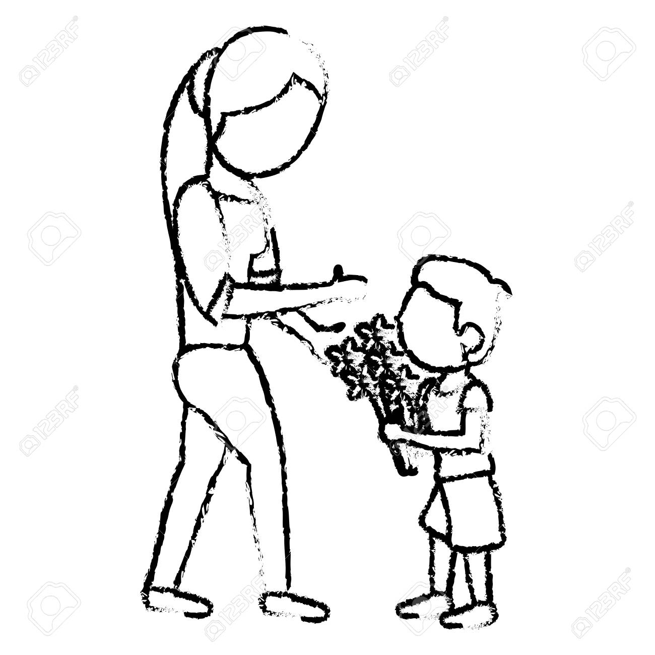 Sketch mother and son bouquet flowers vector illustration stock vector 76086598
