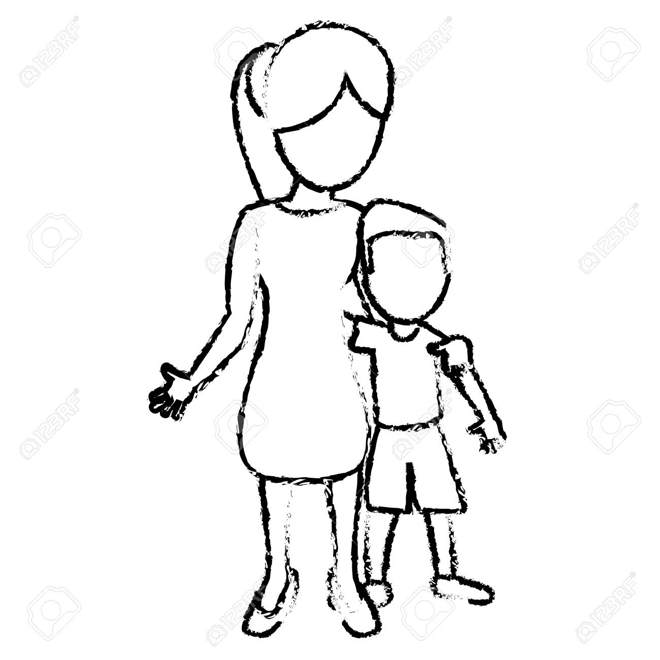 Sketch mother and son hugged vector illustration stock vector 76086599