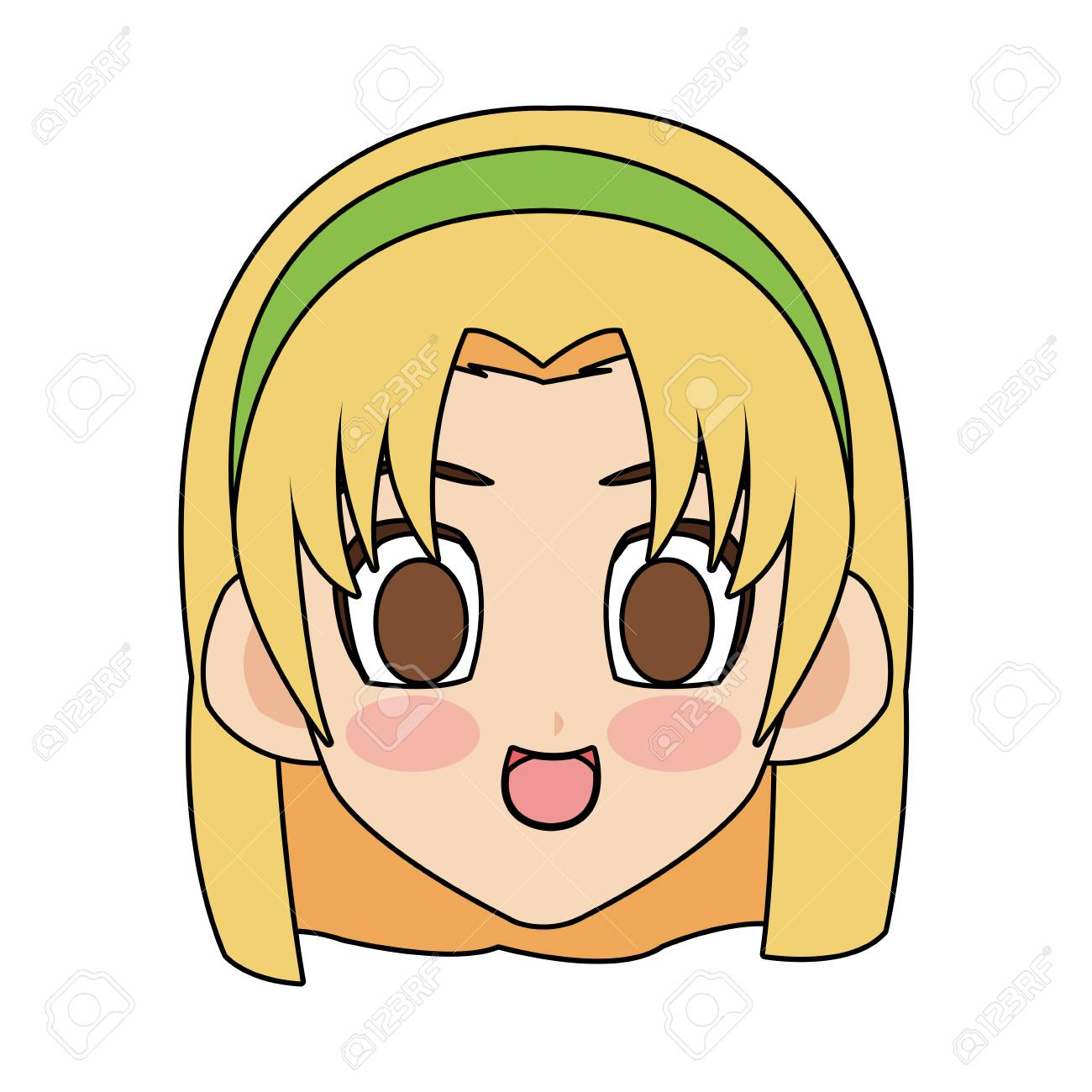 Face Of Cute Anime Or Manga Girl With Blonde Hair And Brown Eyes