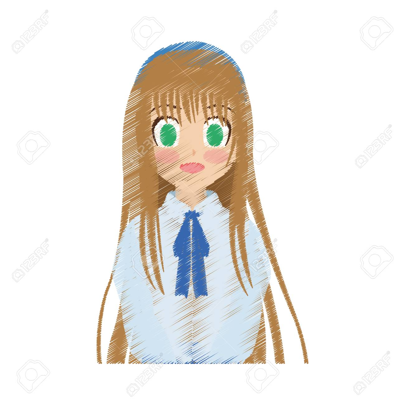 Cute anime or manga school girl with light brown hair and green eyes icon image vector