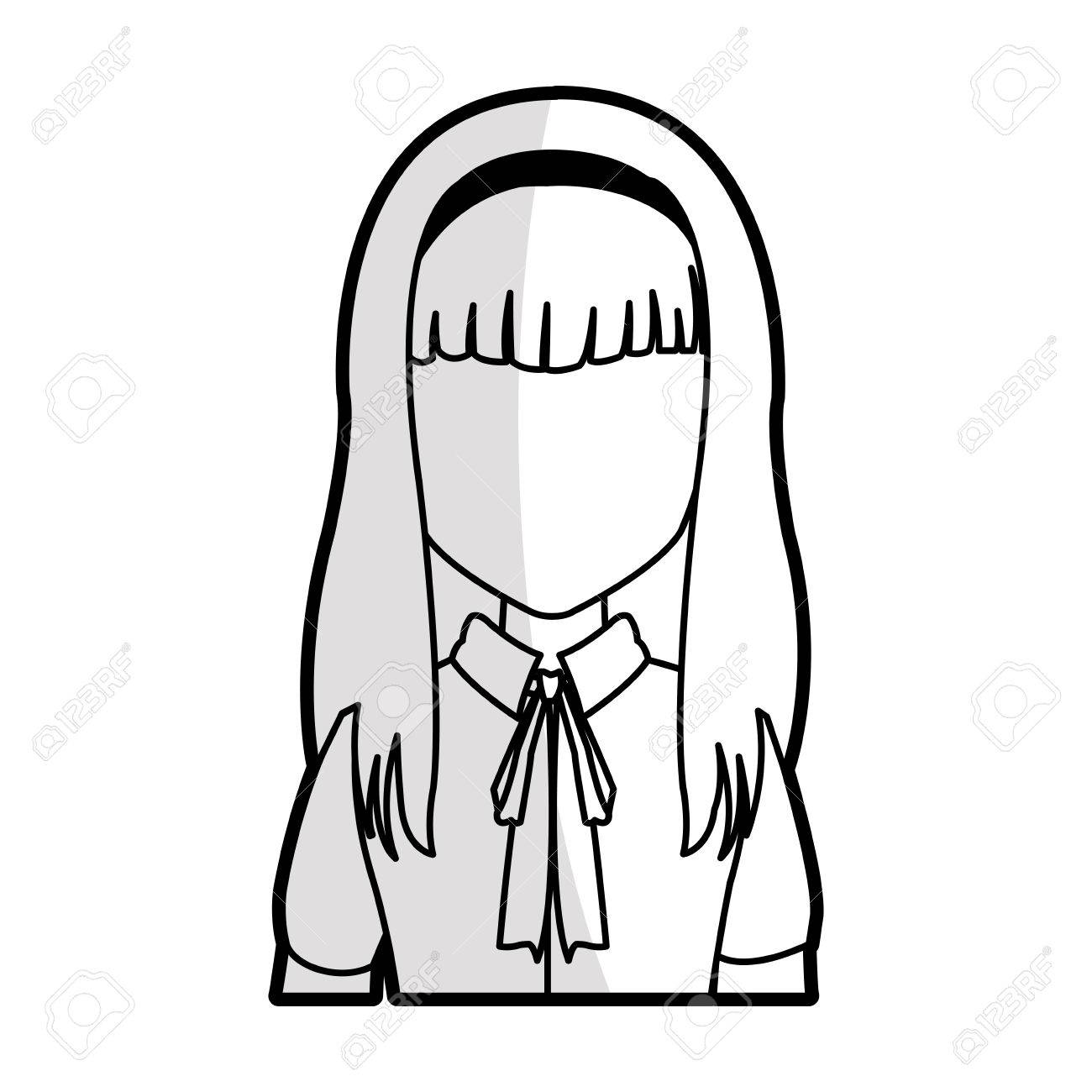 Woman With Long Straight Hair With Fringe Icon Image Vector