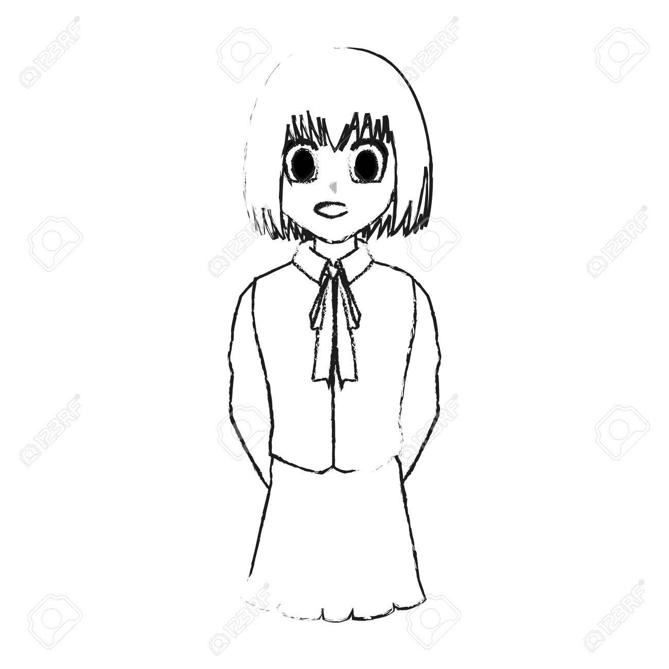 Cute Young Girl With Short Straight Hair Wearing School Uniform