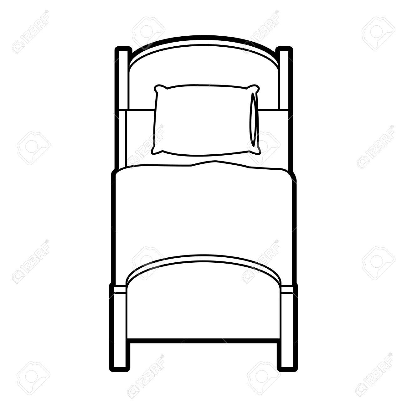 single bed top view. Single Bed Topview Icon Image Vector Illustration Design. Stock - 76184830 Top View |
