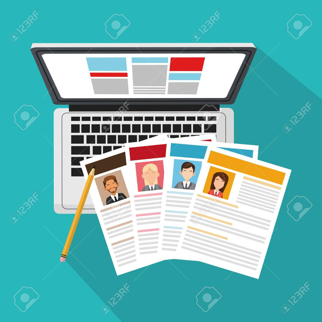Computer And Curriculum Vitae Over Blue Background. Human Resources ...