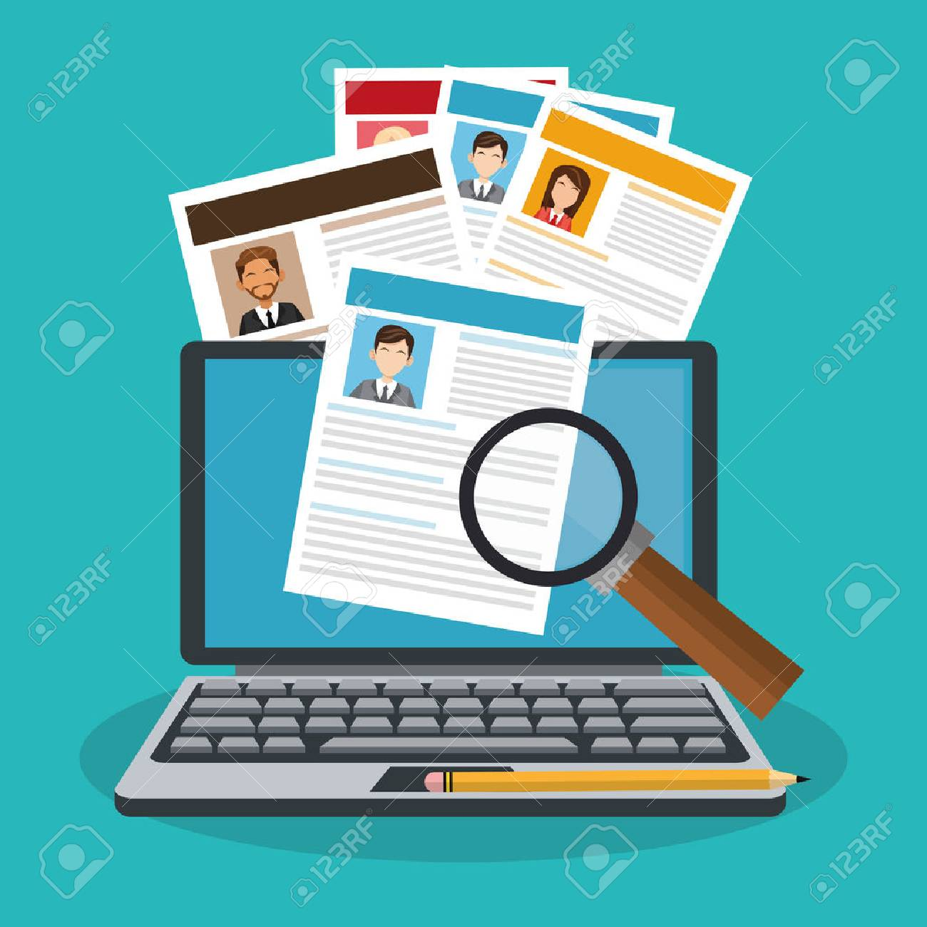 computer and curriculum vitae over blue background. human resources concept. colorful design. vector illustration - 76182970