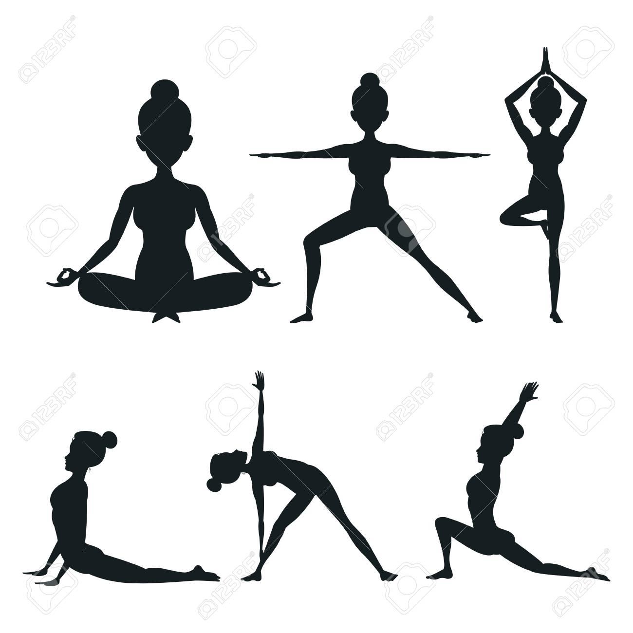 Establecer mujer diferente postura yoga vector ilustración eps 10 Foto de  archivo - 76487367 7edbace64510