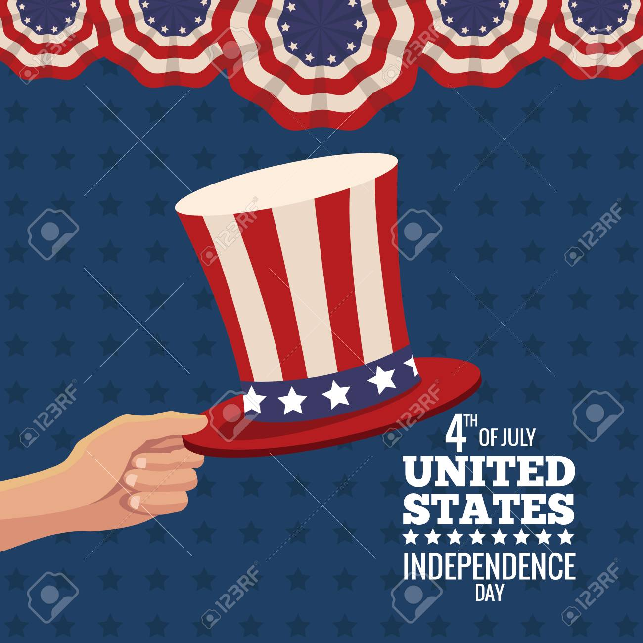 c8b3396c355 hand holding hat united states independence day vector illustration eps 10 Stock  Vector - 76516730