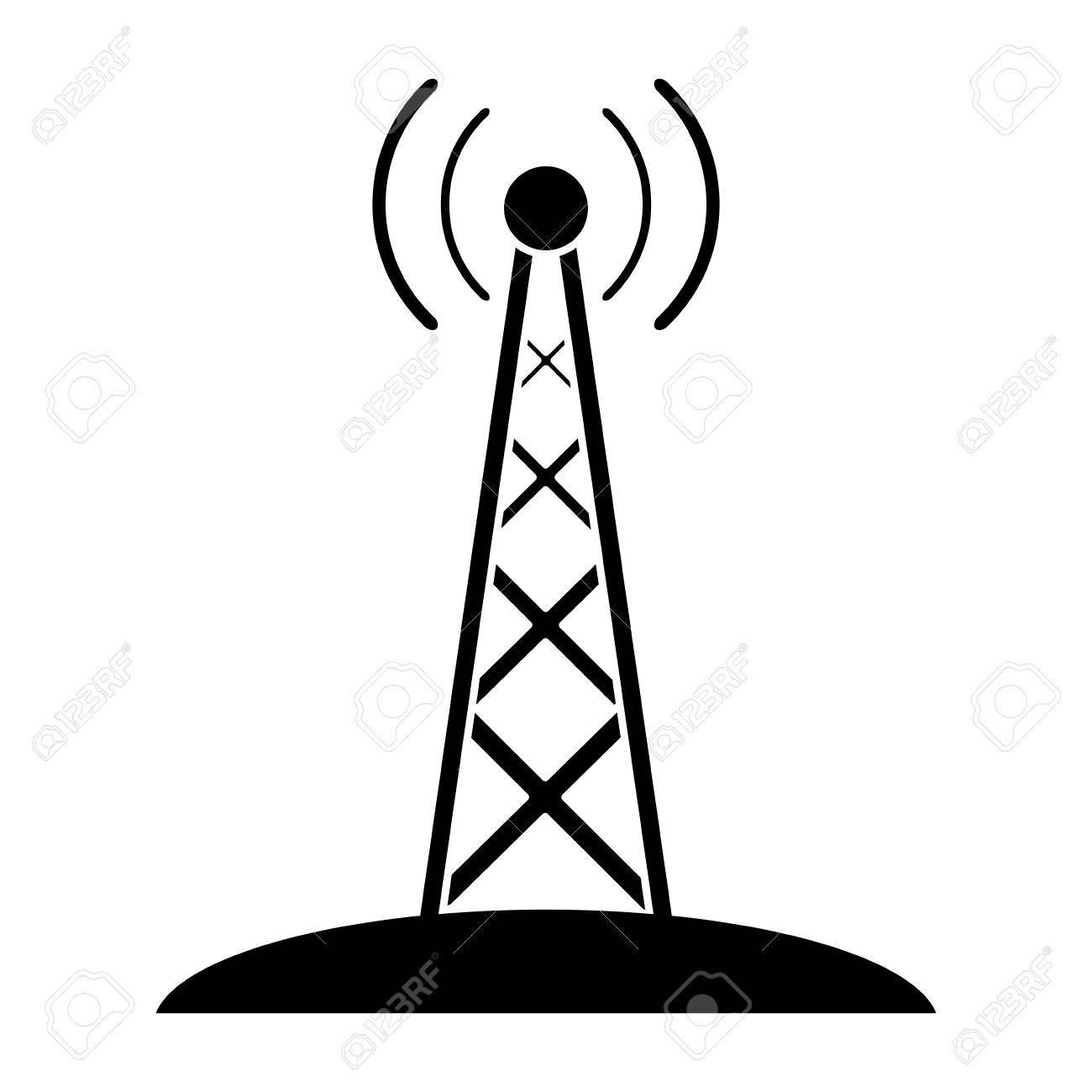 Silueta Transmisión De Antena De Radio Mástil De Comunicación Ilustración Vectorial