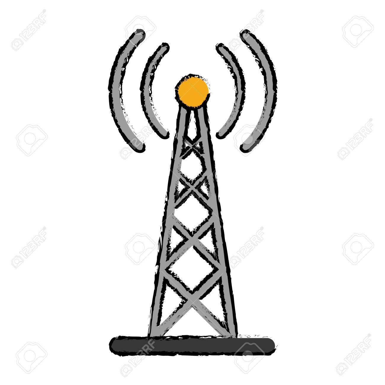 Dibujo Transmisión De Antena De Radio Mástil De Comunicación Ilustración Vectorial