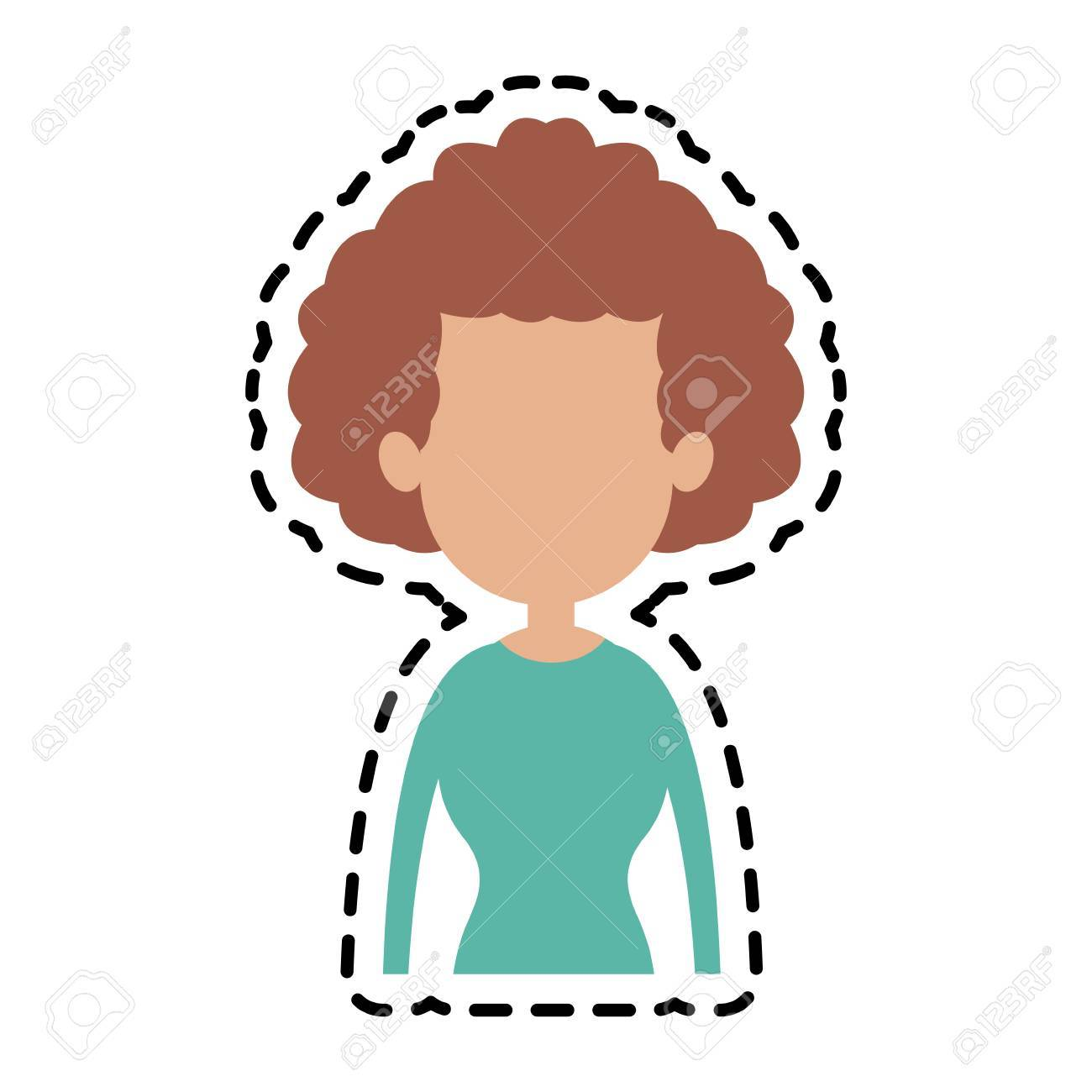 Faceless Woman With Curly Hair Icon Image Vector Illustration