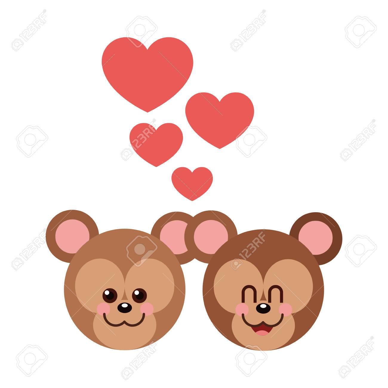 Oso De Dibujos Animados En El Icono De Amor Animal Lindo Adorable Y