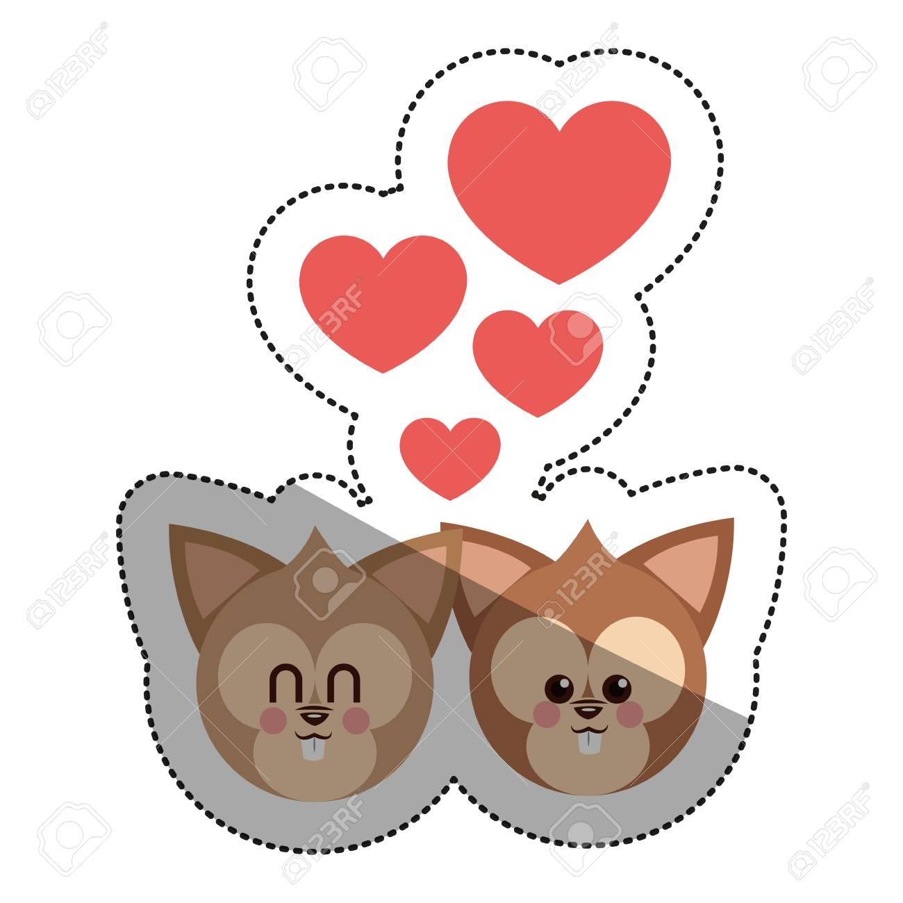Dibujos Animados De Ardilla En El Icono De Amor Animal Lindo