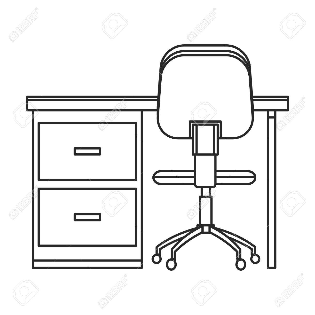 Outstanding Desk Chair Workplace Image Outline Vector Illustration Eps 10 Onthecornerstone Fun Painted Chair Ideas Images Onthecornerstoneorg